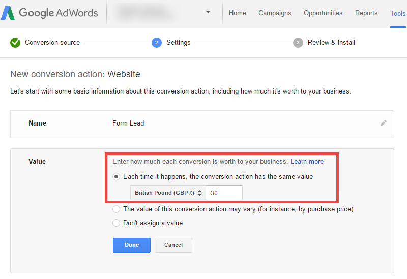 Assign a value to your Adwords conversion tracking lead
