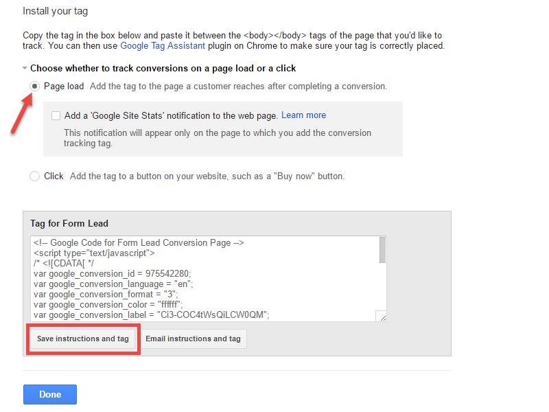 Screenshot of Adwords Conversion Tracking Tag code