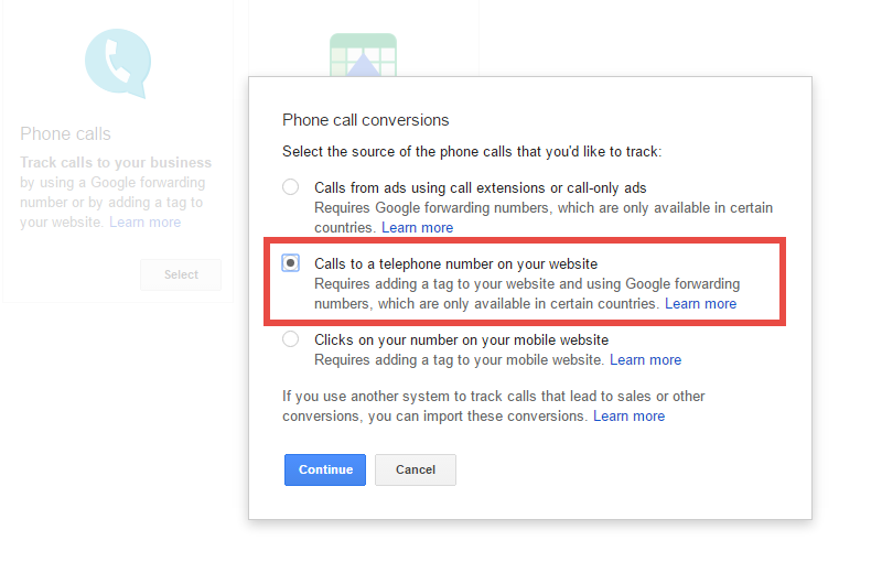 Google Adwords: Calls to a telephone number on your website