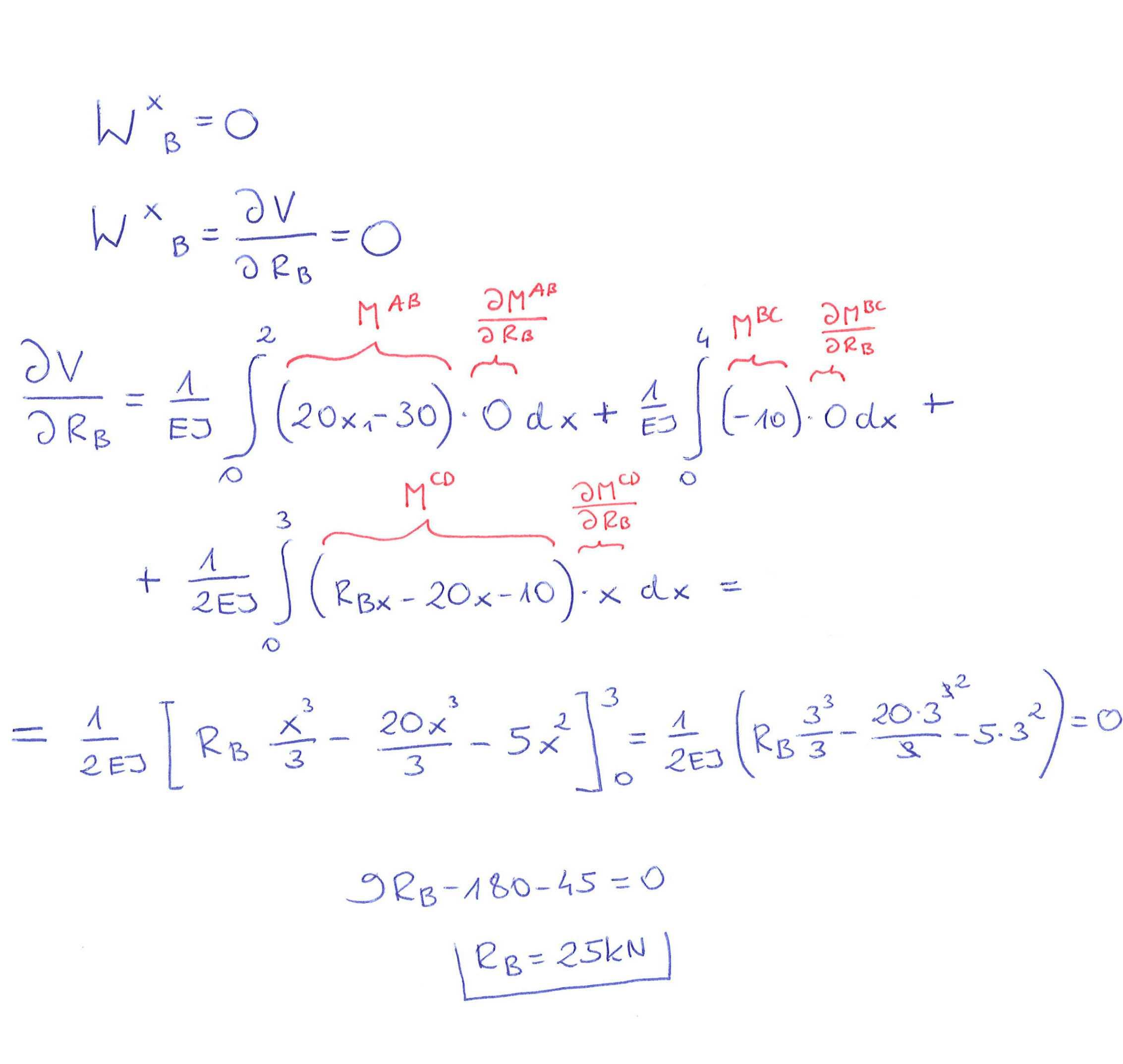 całkowanie funkcji momentów gnących twierdzenie Menabrei
