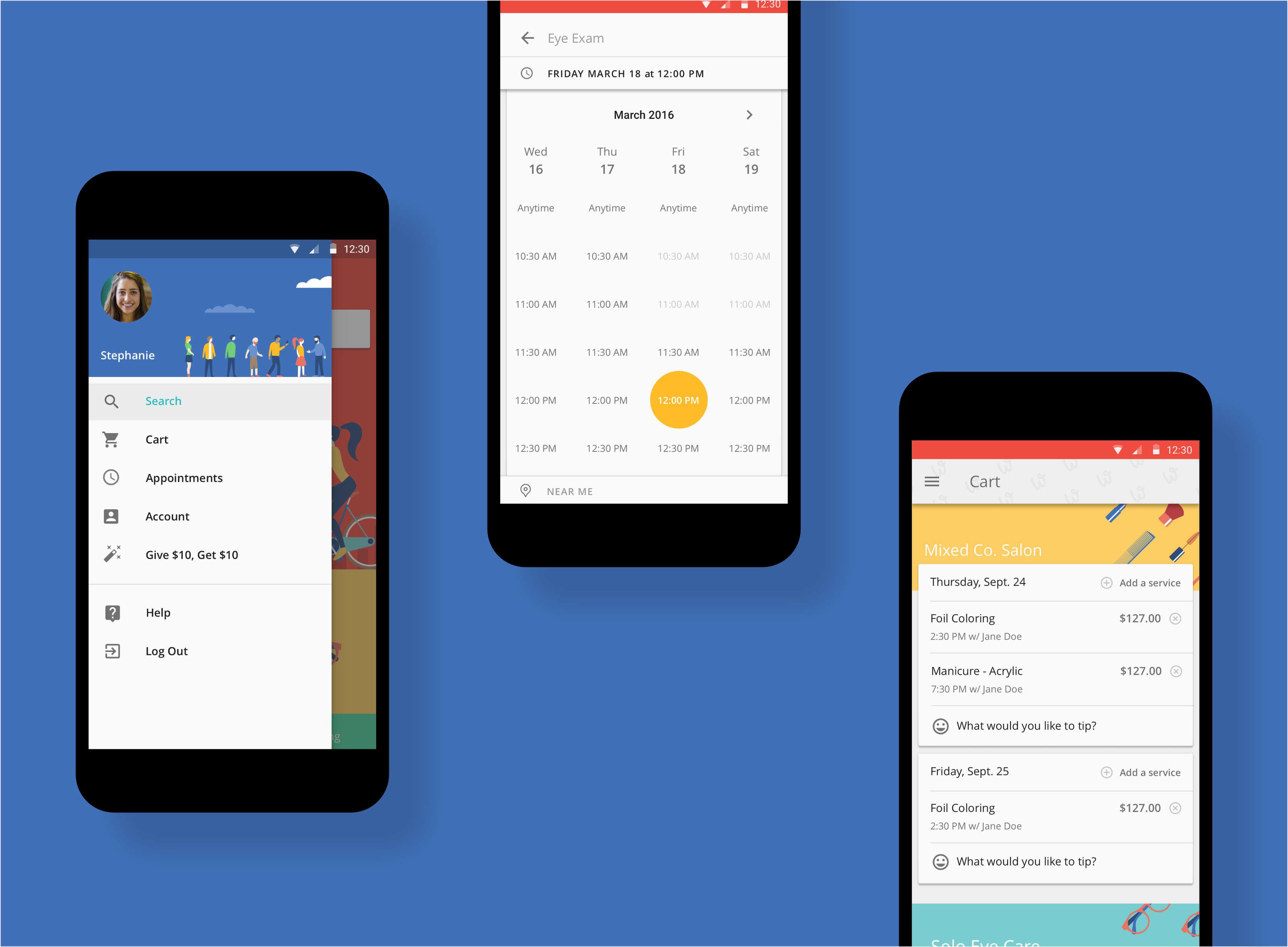 Android App Material Design Screens