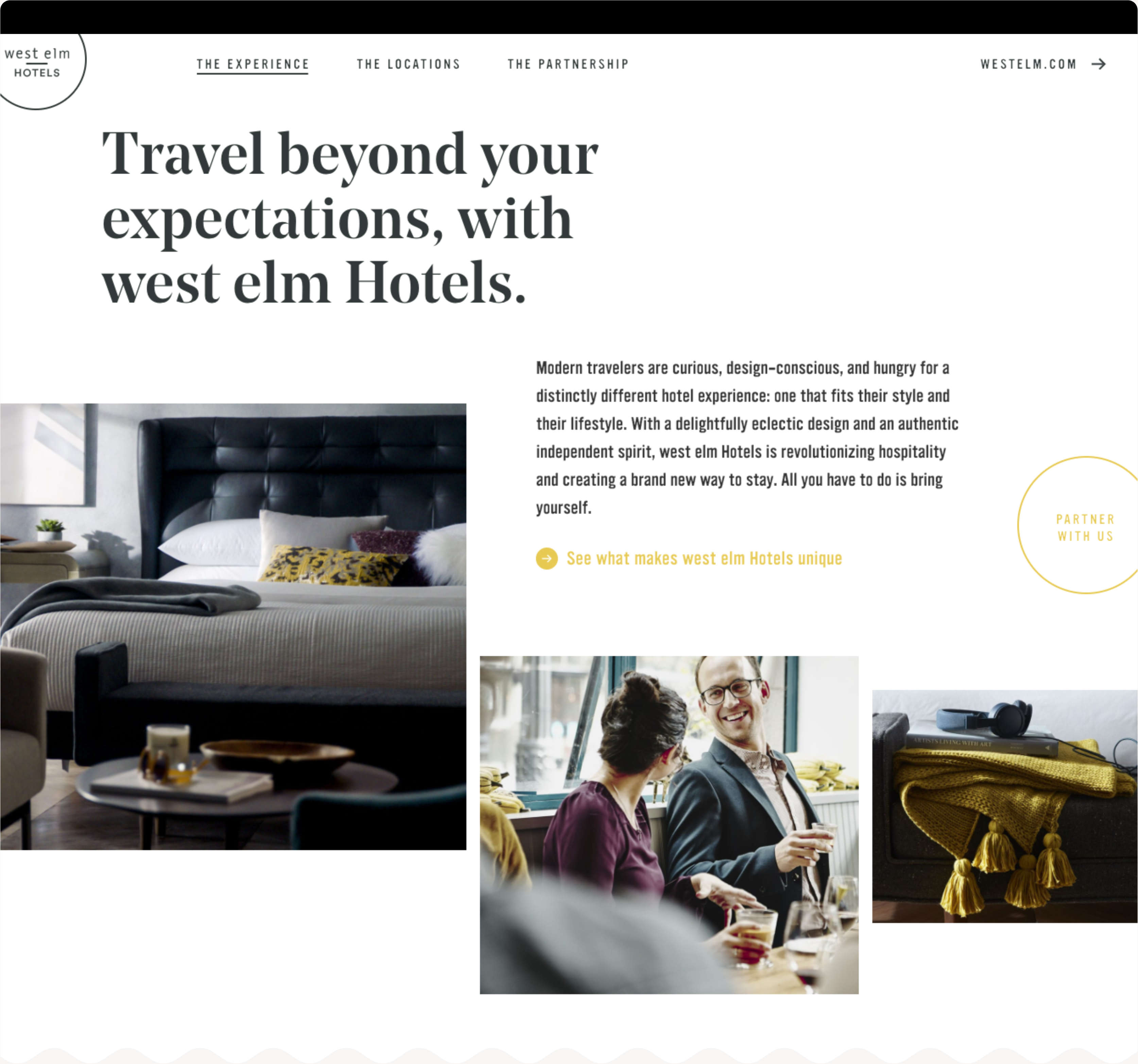 West Elm Hotels Web Design