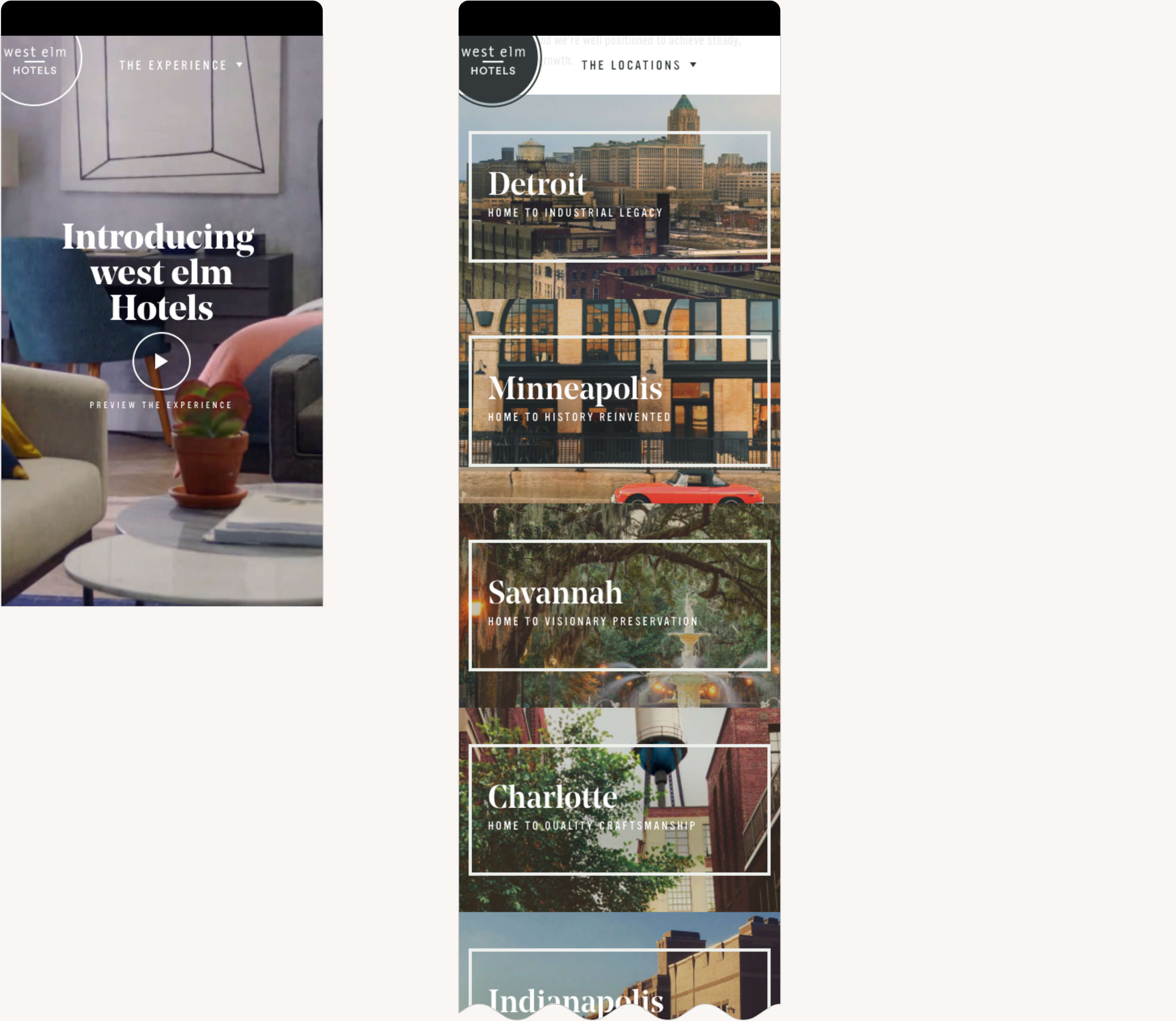 West Elm Hotels Mobile Responsive Web Design