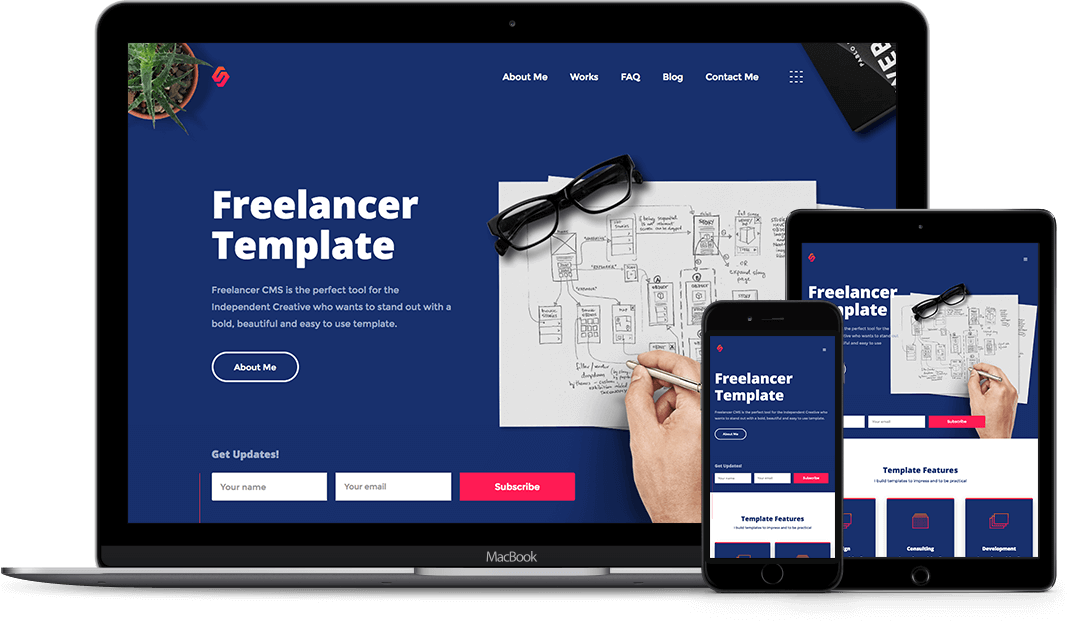 Freelancer designer html5 responsive website template features list pronofoot35fo Image collections