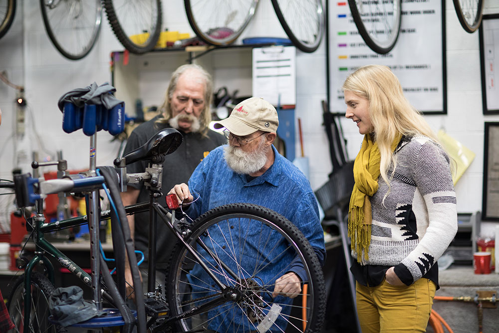 Through all the struggles that come with a start-up nonprofit and through those lean years not taking a salary, Barger stayed focused on her mission because of the incredible people she met and the results she saw in the lives that were transformed through cycling transportation. (Photo: Valerie Grant)