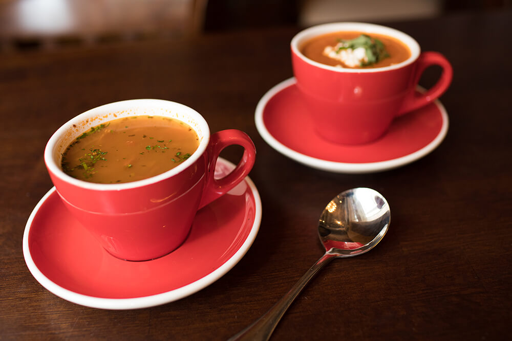 Tavolo's Monday lunch special features its tomato bisque, made with goat cheese. For a traditional Italian soup, opt for the minestrone. (Photo: Valerie Grant)