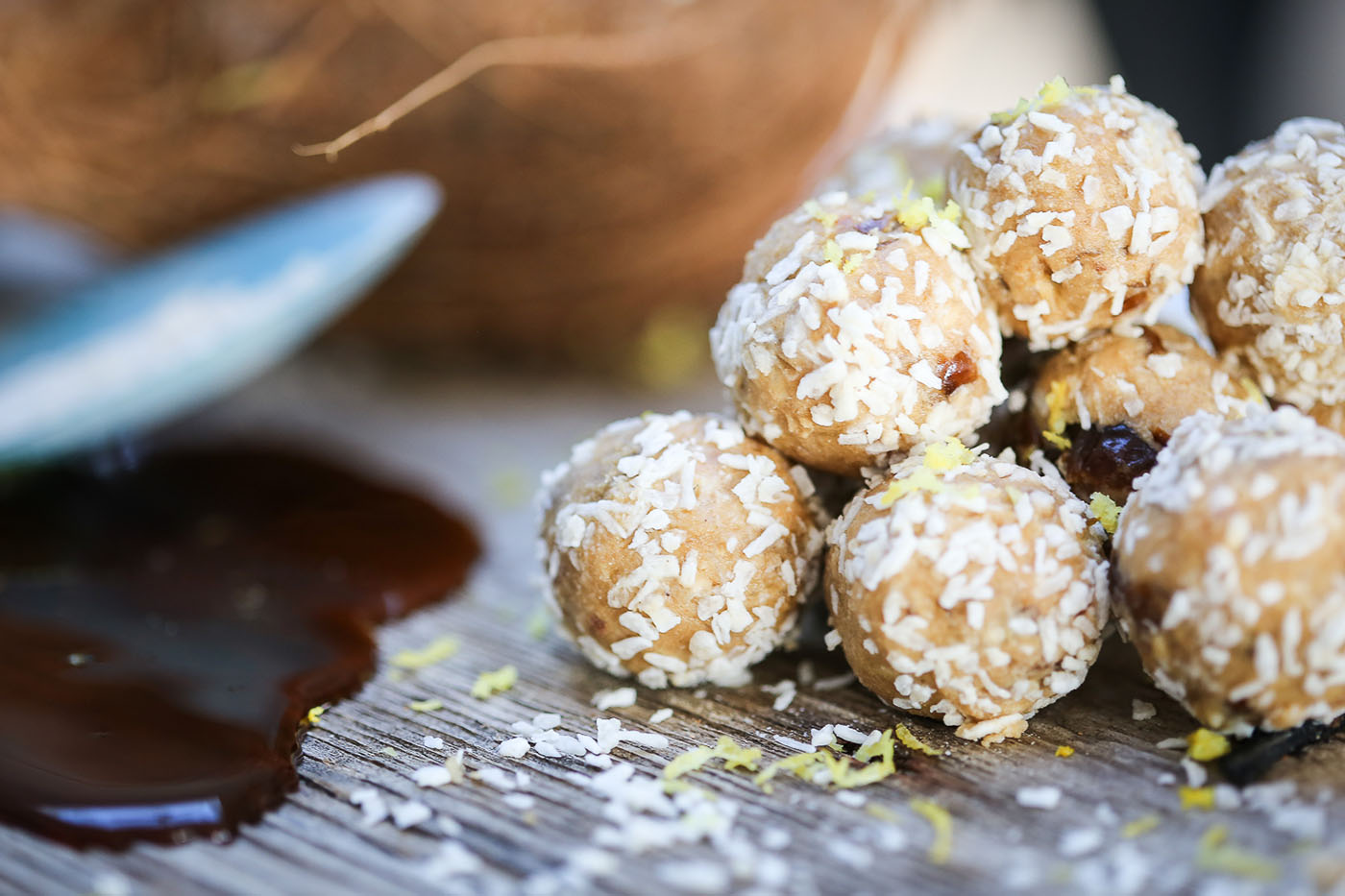 Delicious Tropical Protein Balls piled high