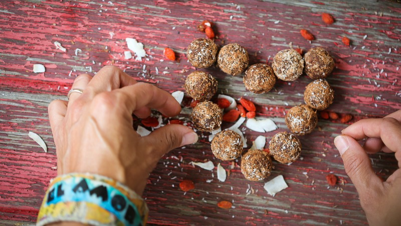 Protein balls in a heart shape