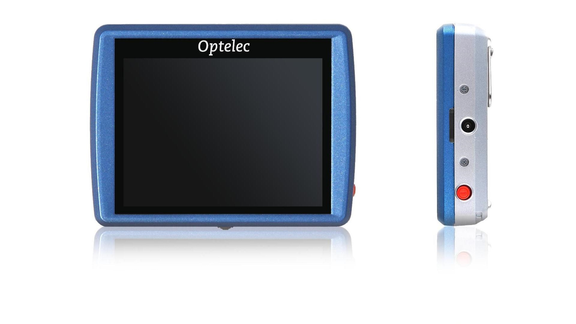 "The Compact Mini is a tiny, 3.5"" display. It is about two centimeters thick. On the bottom side (not on the front with the same orientation as the display) is an adjustment wheel. On the left side there are two near-hidden screws. On the top is a pill shaped button with a camera icon physically embedded in. On the right side there is a red button near the top, and power plug in the center. There are two screw spots symmetrical to the ones on the left."