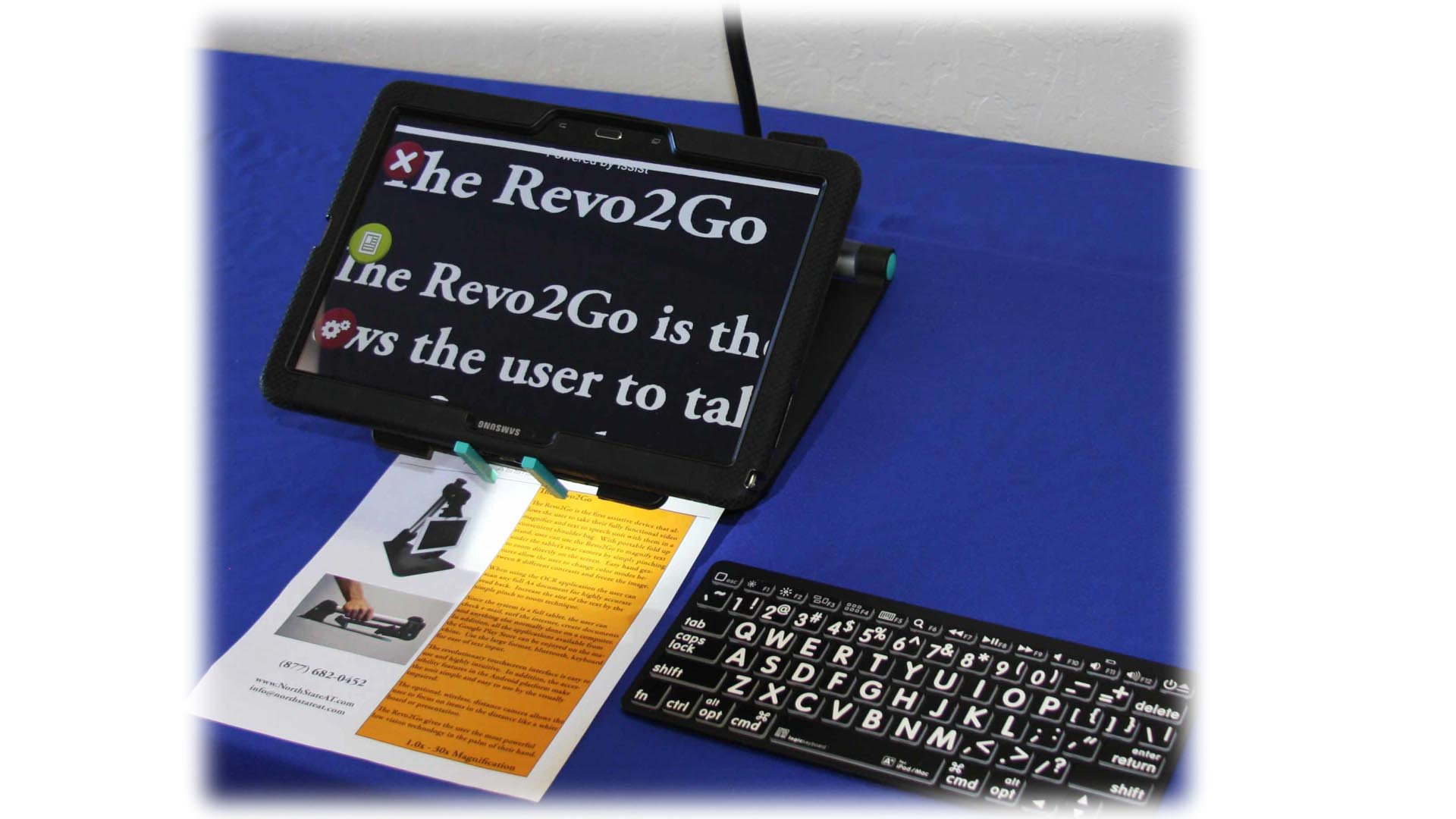 "The rev 2 go is essentially a Samsung Android tablet with custom software. There is a home button (pill shaped) in the center of the long side. Orientation of the tablet does not really matter because it automatically rotates the screen. To the left of the pill shaped home button is a capacitive touch ""back"" button, and to the right of the home button is the ""menu"" or multitasking capacitive touch button."