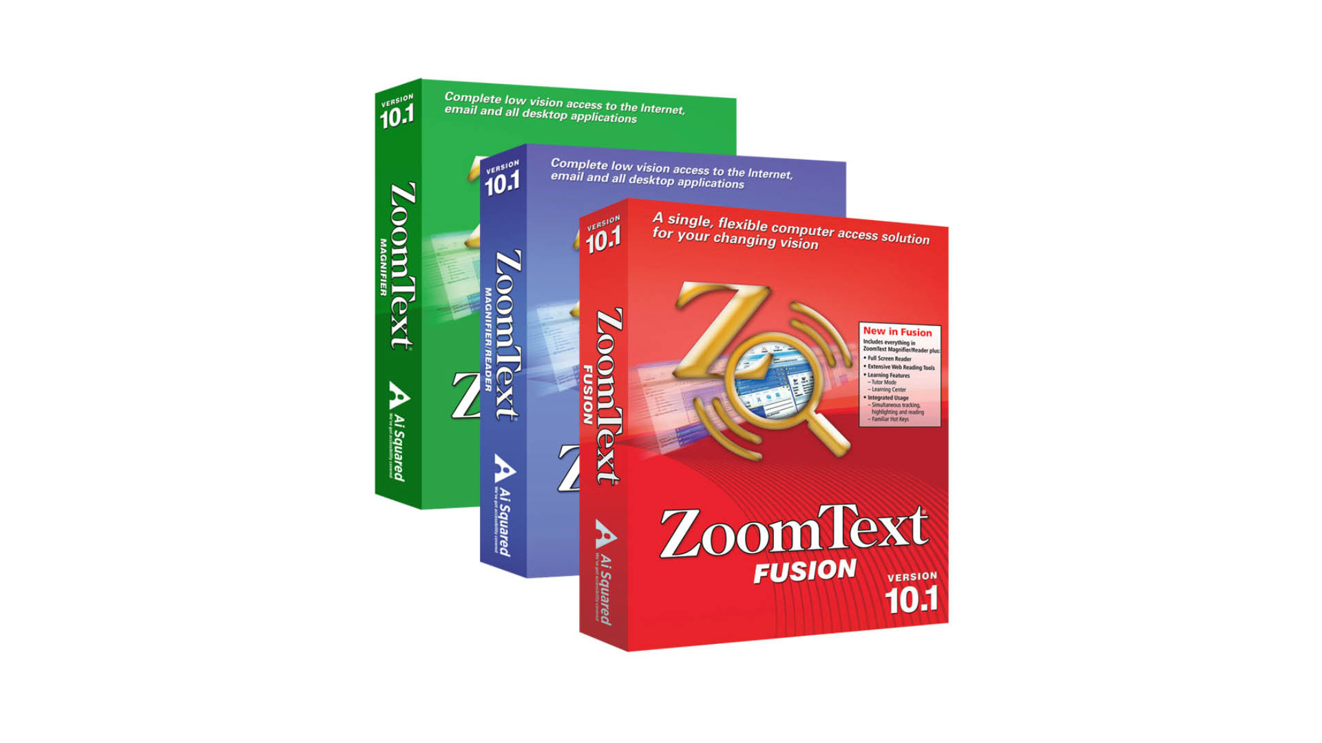The ZoomText software is pictured as a red box with a golden magnifying glass. The magnifying glass is oriented NorthWest and in its direction is a golden Z.