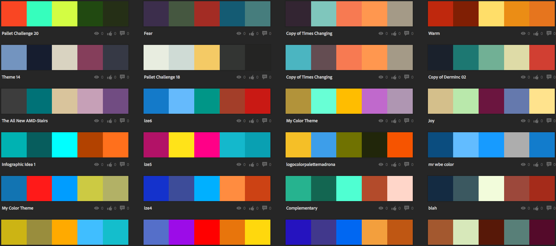 Color palettes created by Adobe Color users