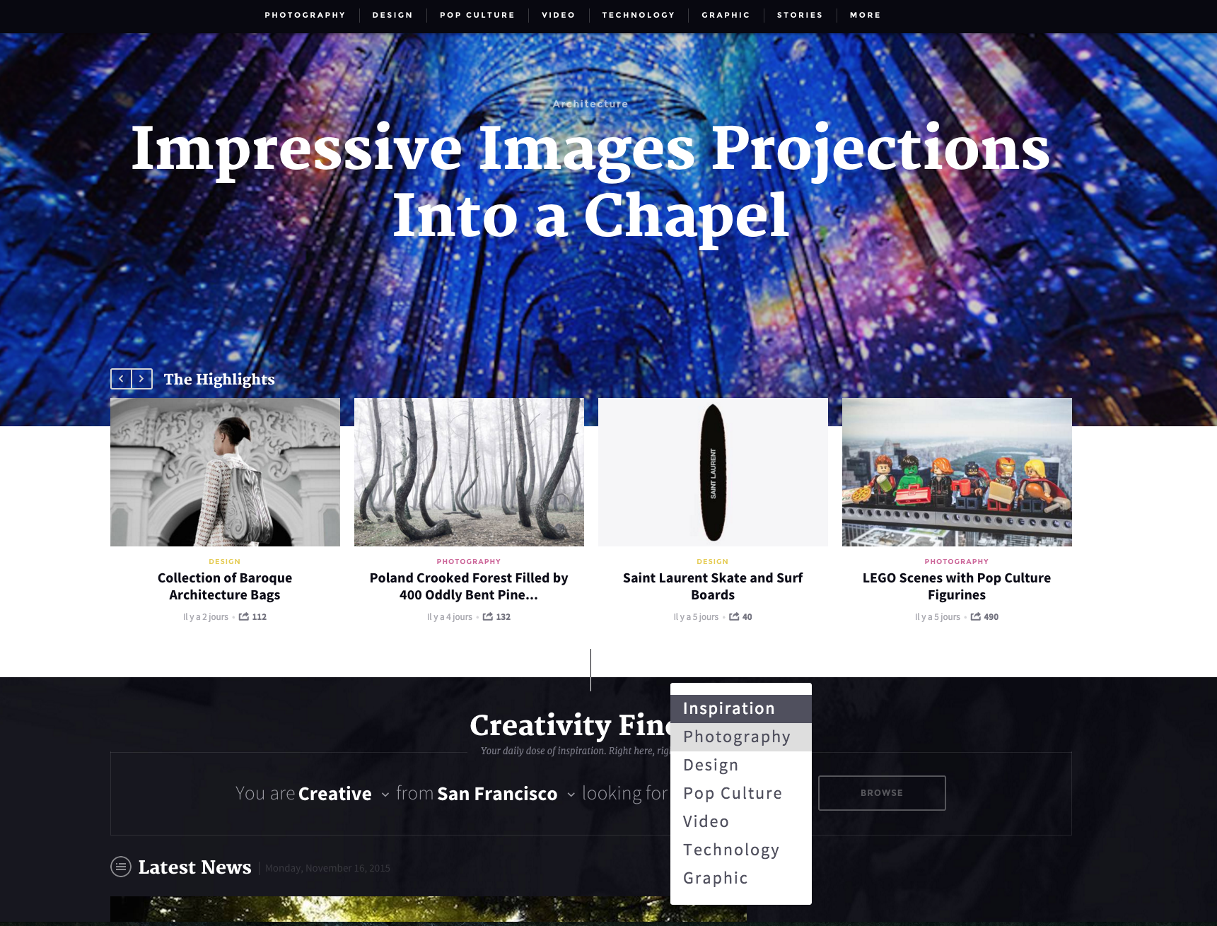 The Fubiz homepage