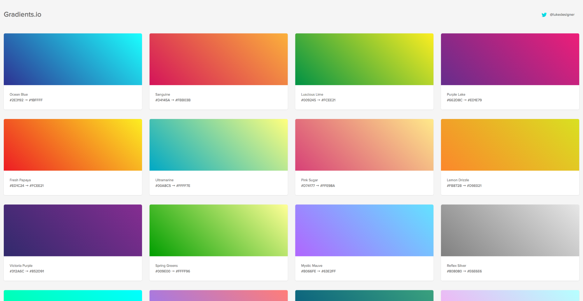 Gradients.io curates cool gradients for you to use in your websites.