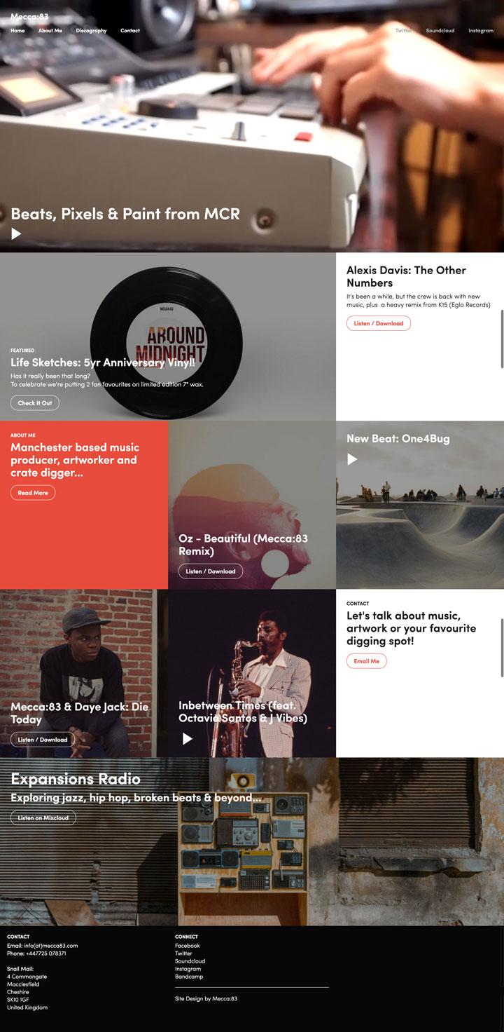 Homepage of Mecca:83's musician portfolio website