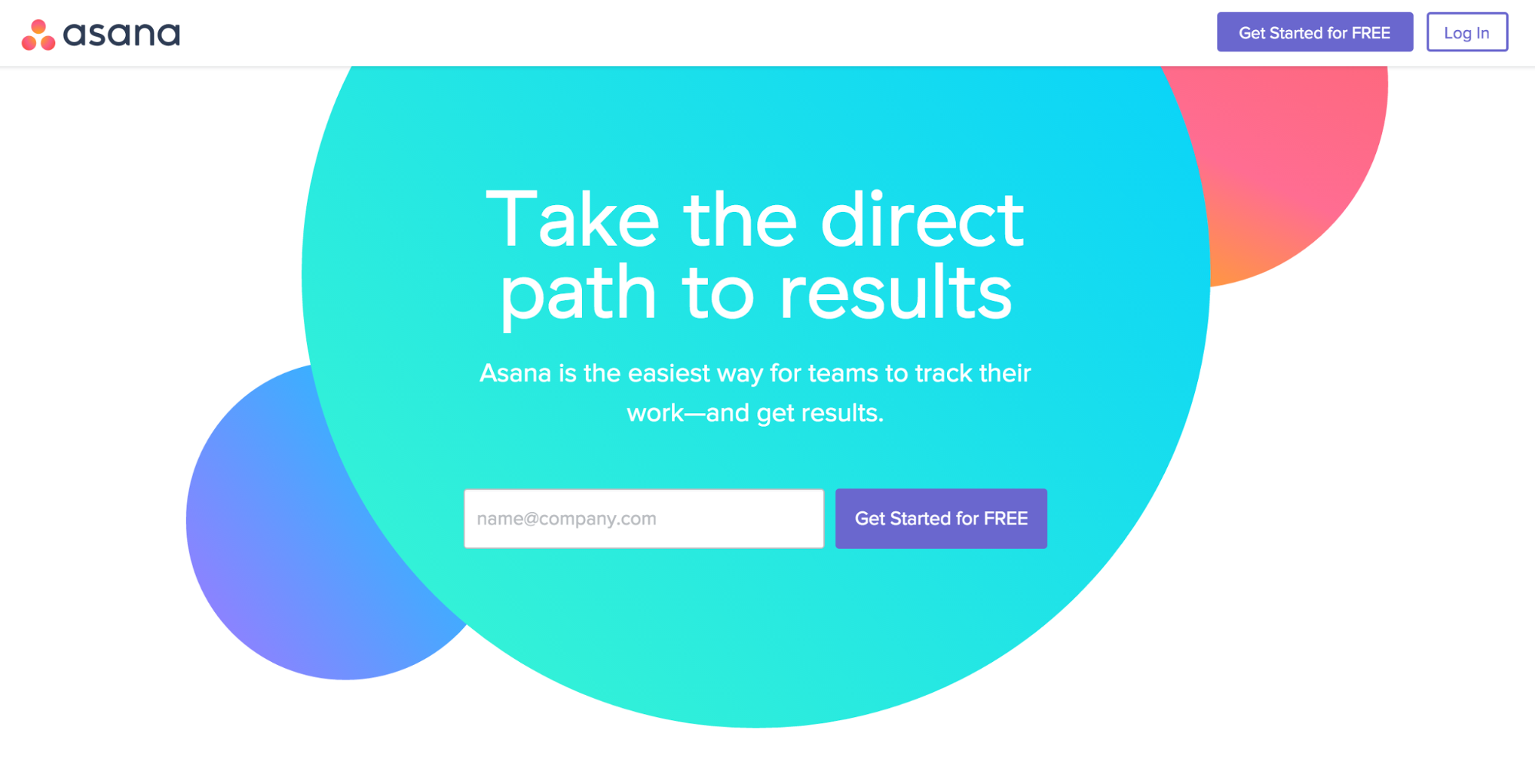 Asana app homepage