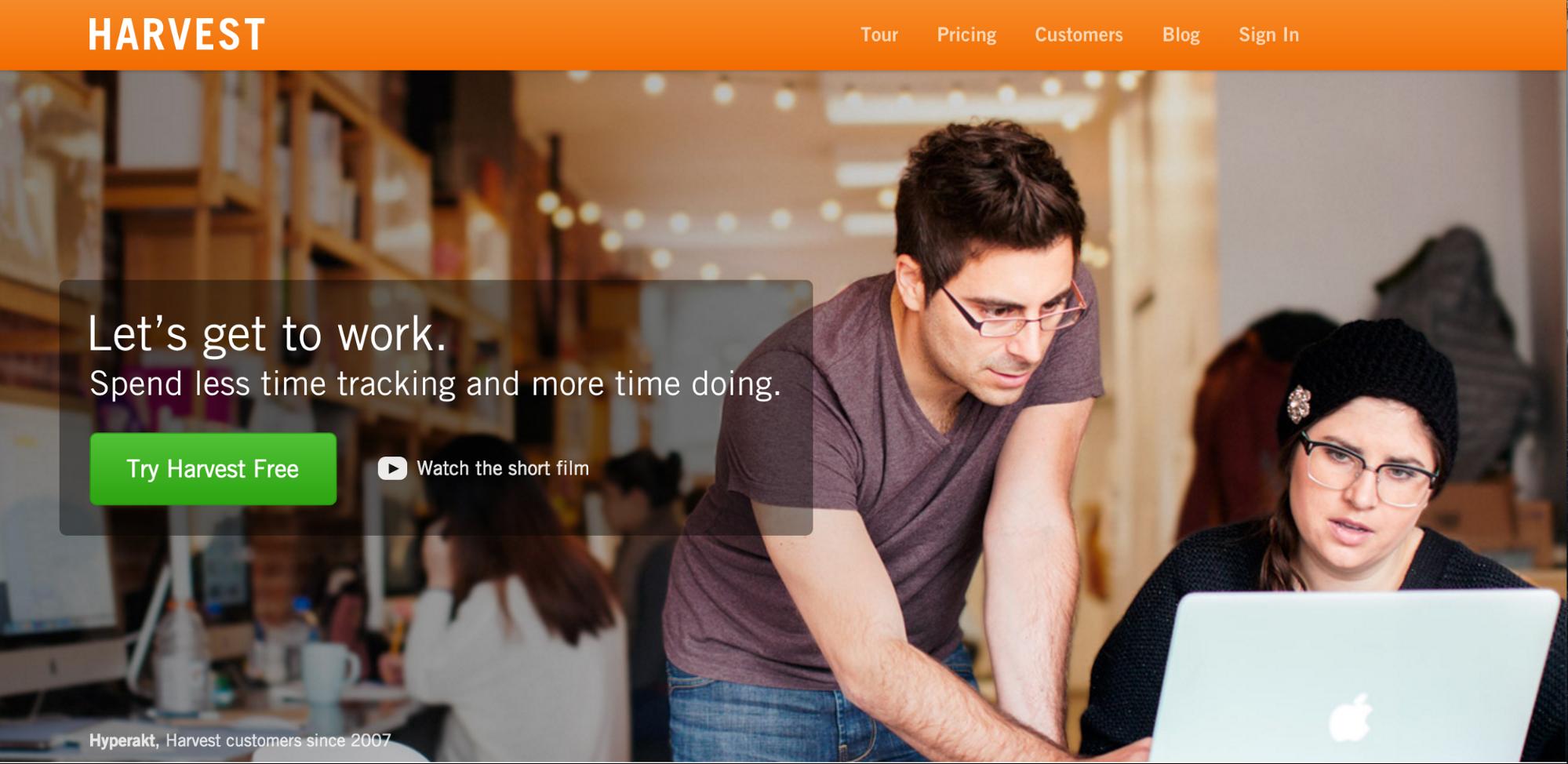 Harvest app homepage