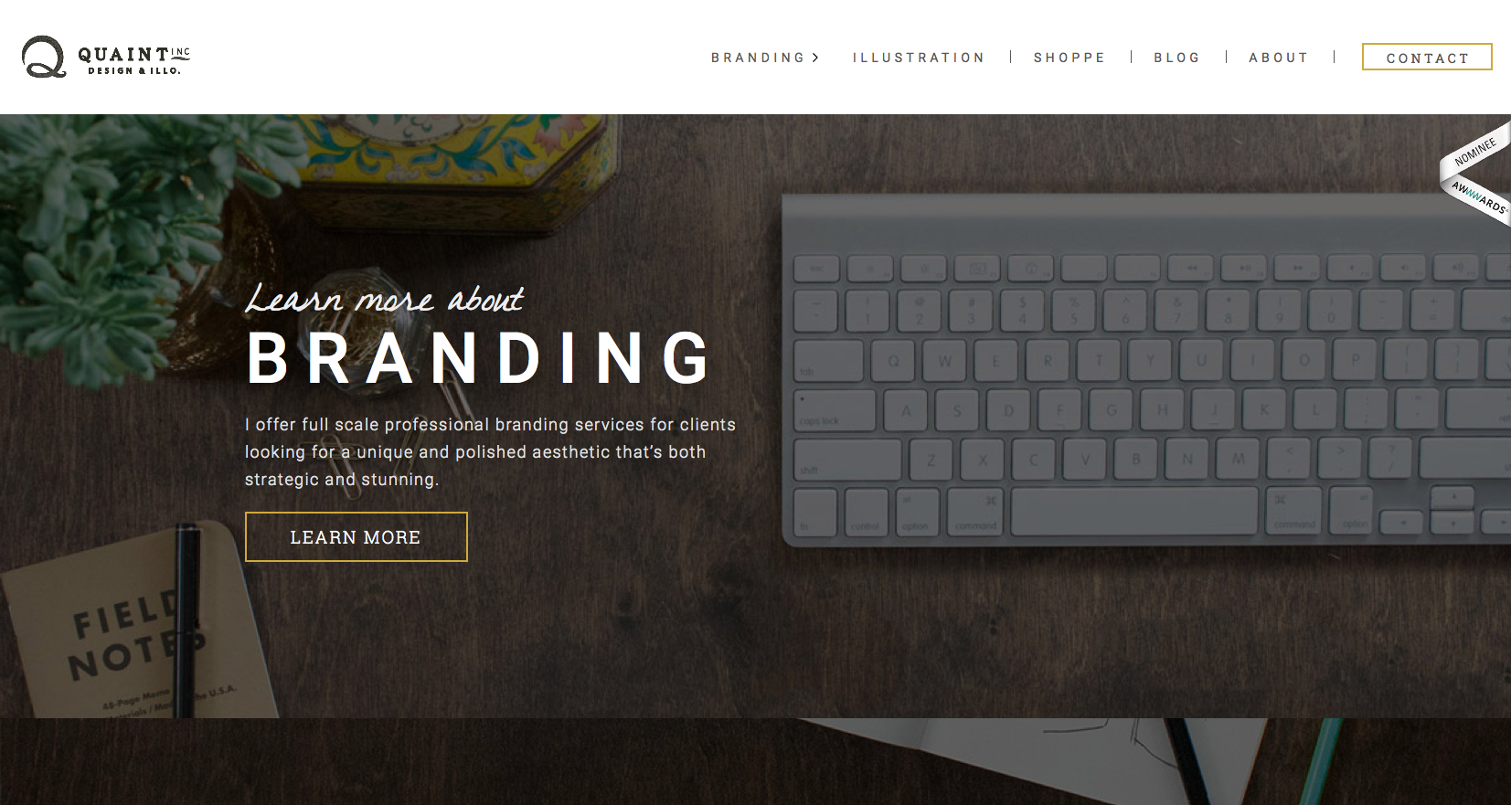 Quaint Inc landing page
