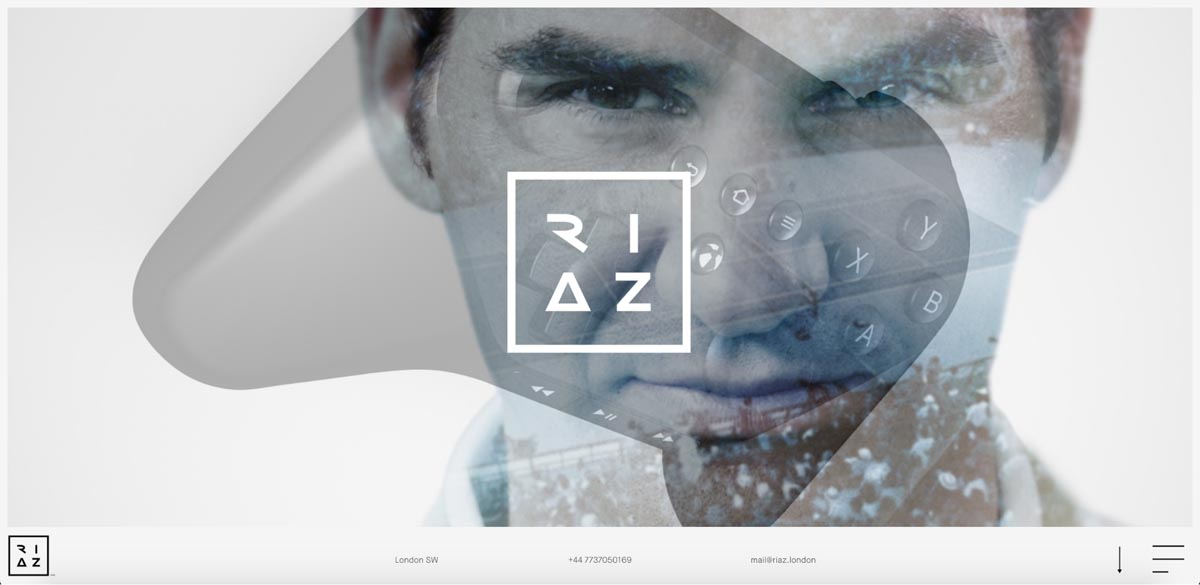 The hero section of Riaz Farooq's portfolio