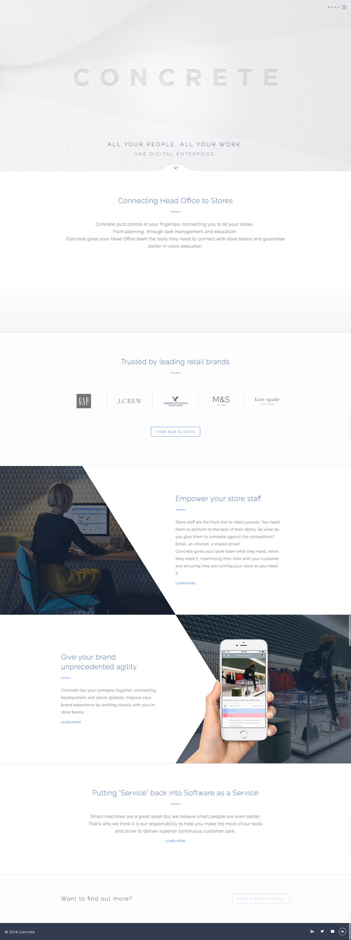 Concrete Platform's retail software website