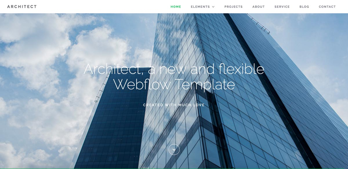 The Architect Webflow template uses Raleway for headlines