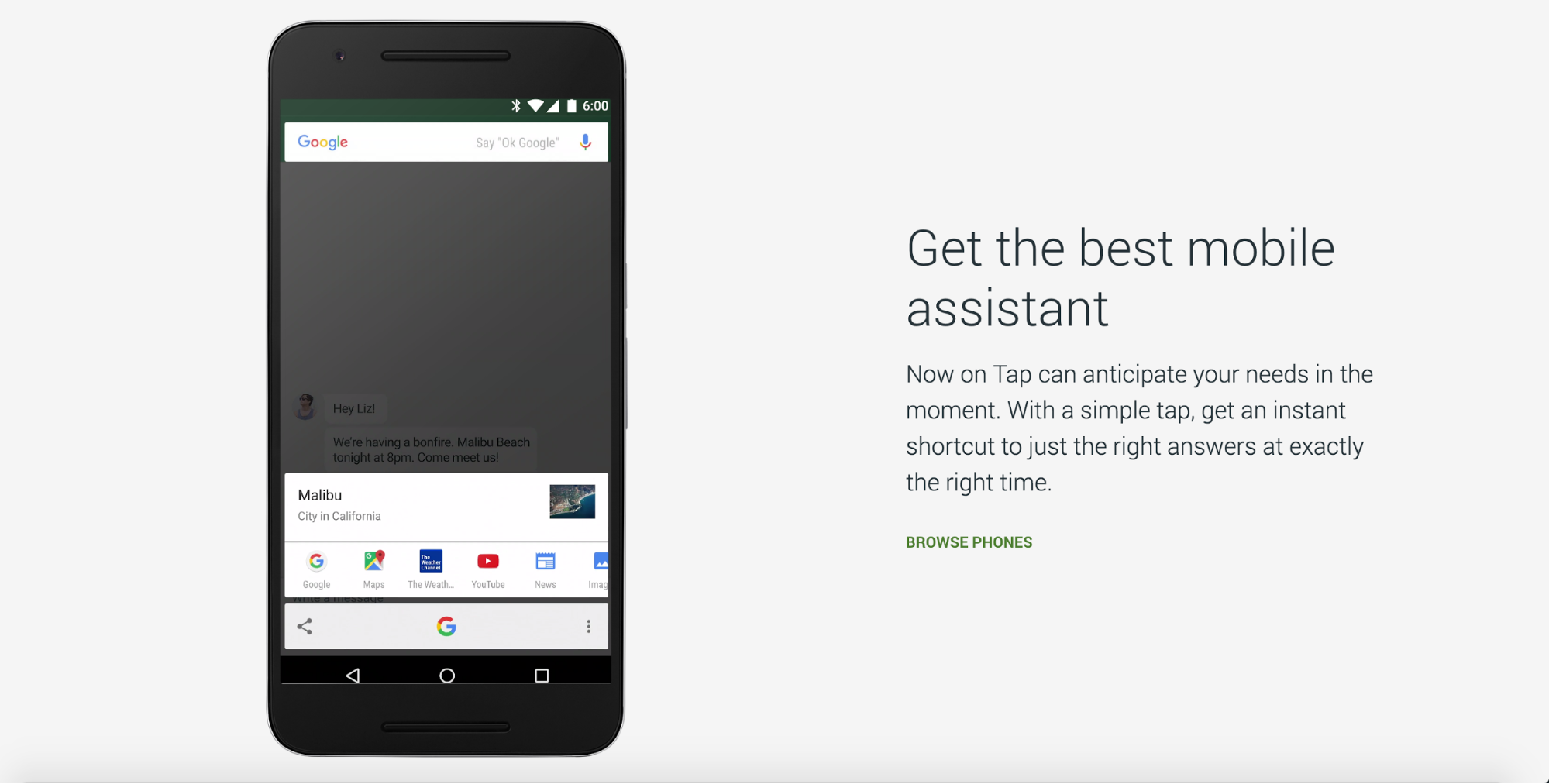 "A page from Google's Nexus site—the link copy reads ""browse phones"""