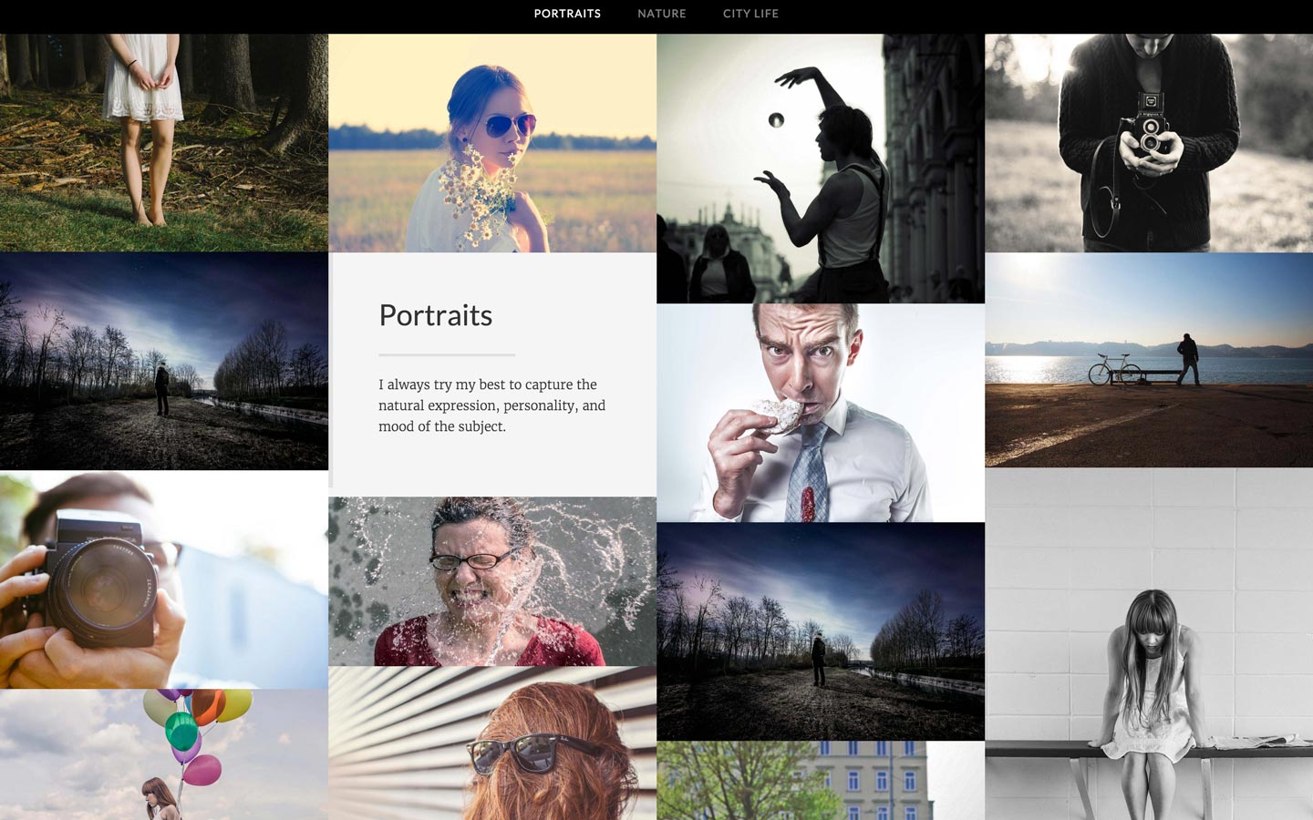 Aspect Ratio photography portfolio website template