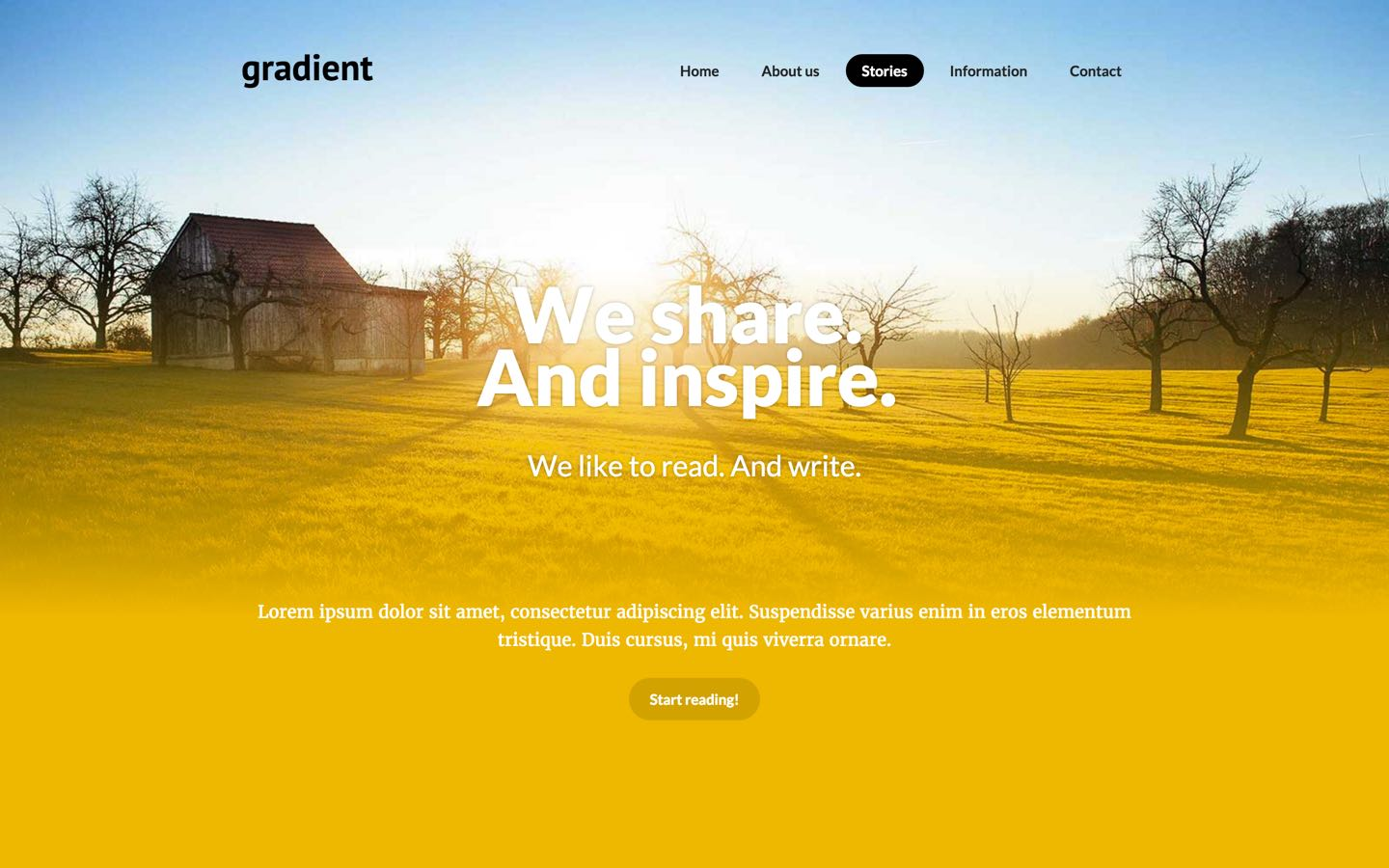 Gradient photography website template