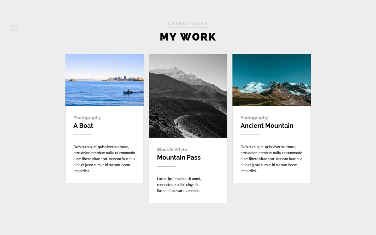 Left Handed photography portfolio website template