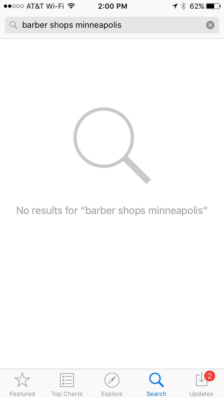 "App Store search page: No results for ""barber shops minneapolis"""