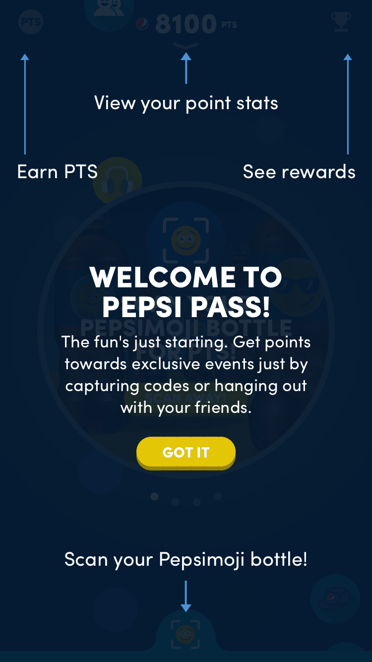 Pepsi Pass mobile app - responsive web design