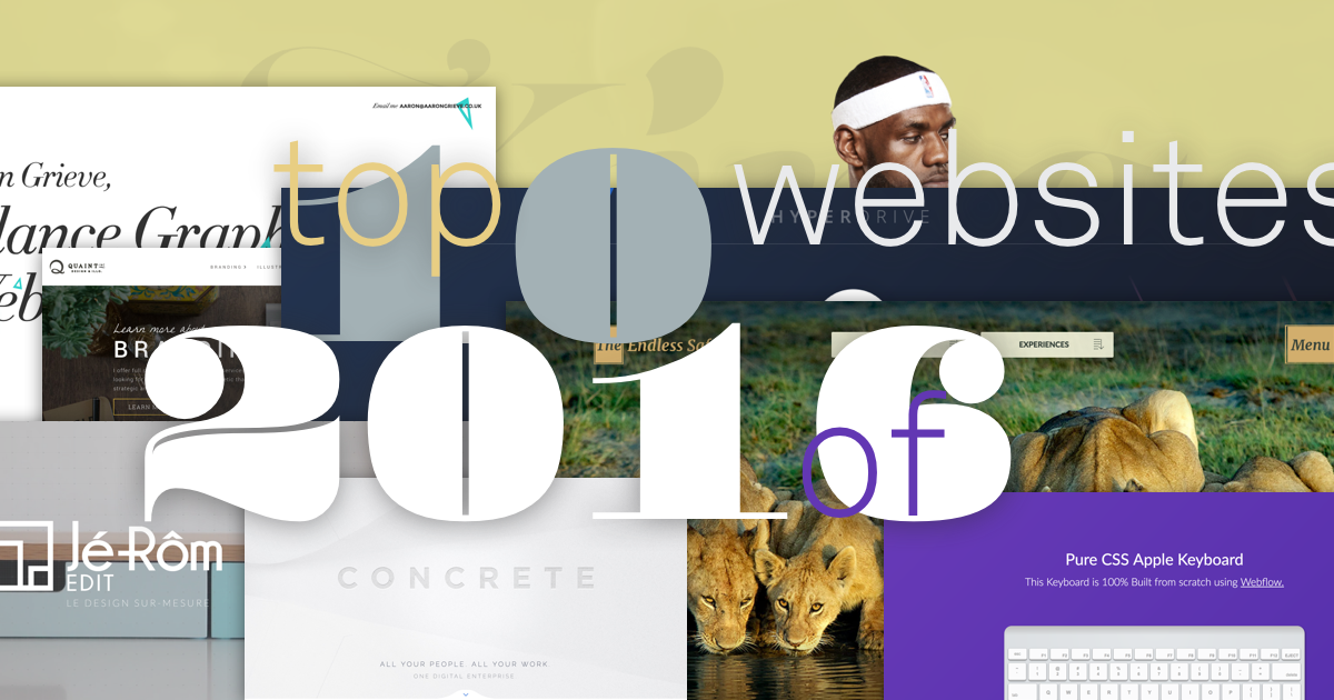 Top 10 most popular Webflow websites of 2016