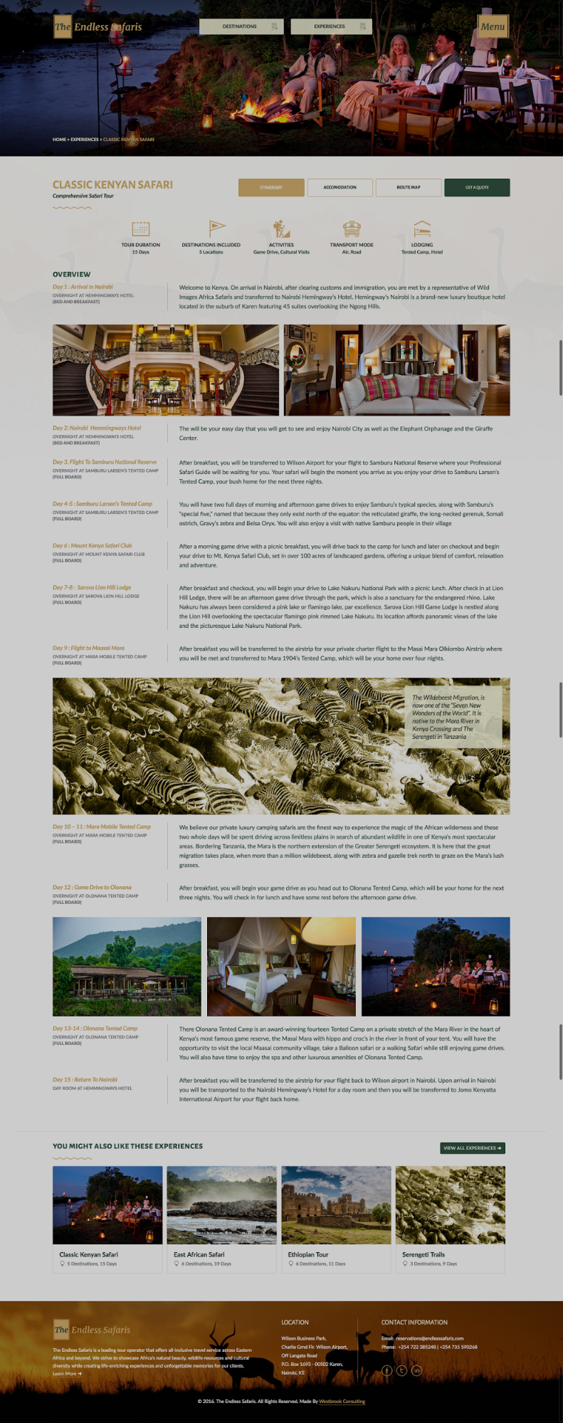 Endless Safaris' itinerary pages