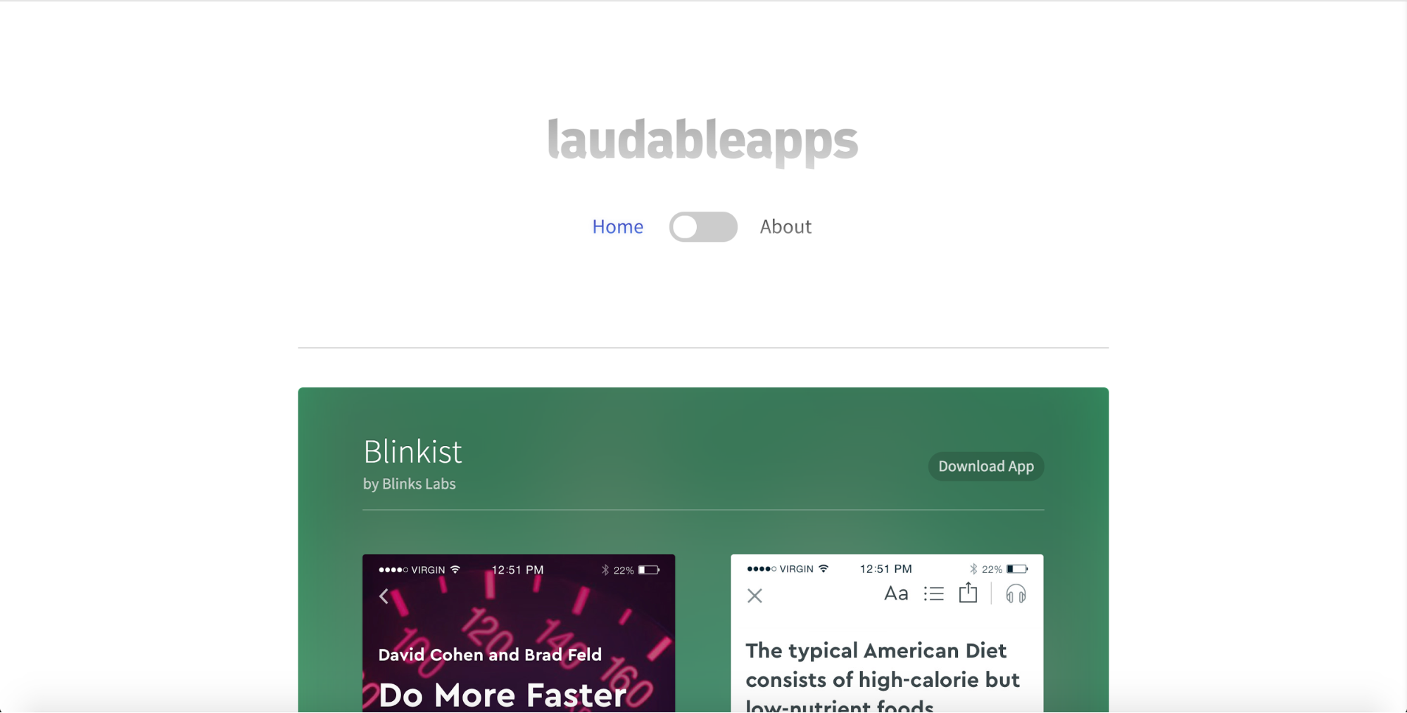 Laudable Apps inspiration homepage