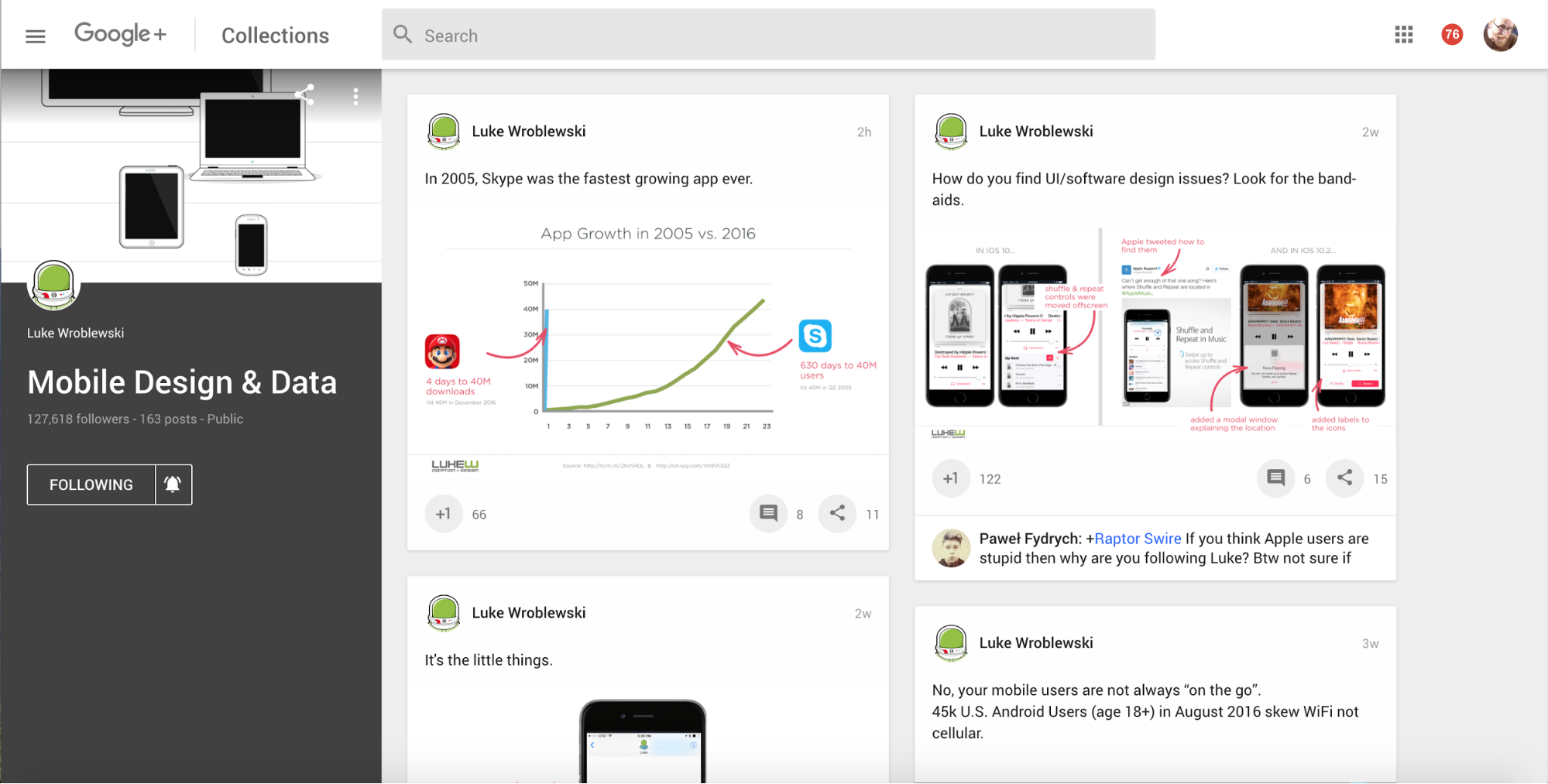 Mobile Design & Data Google+ Collection