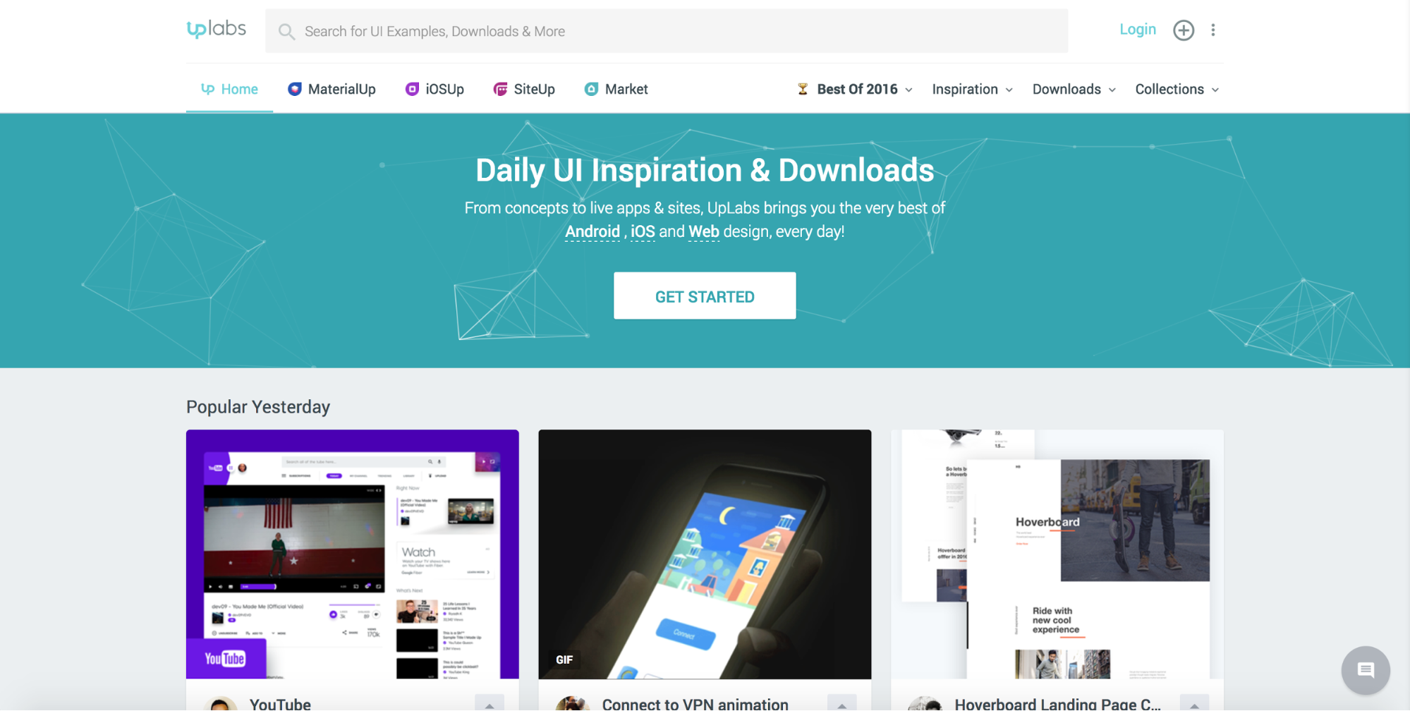Uplabs inspiration website homepage