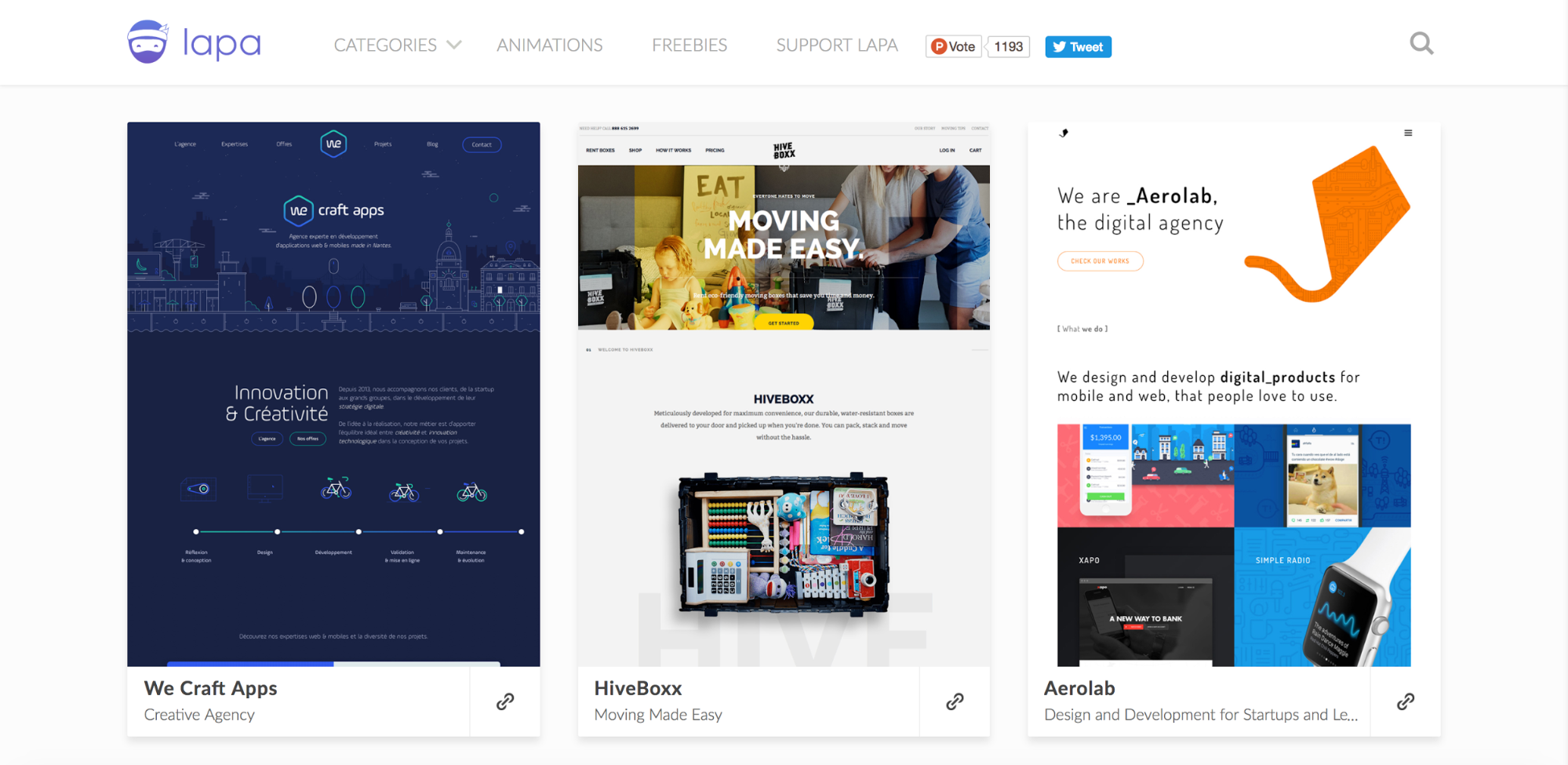 LAPA landing page design inspiration site