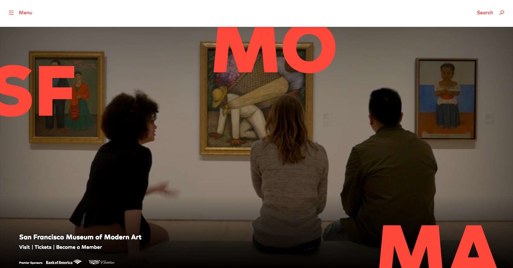 SFMoMA's website homepage