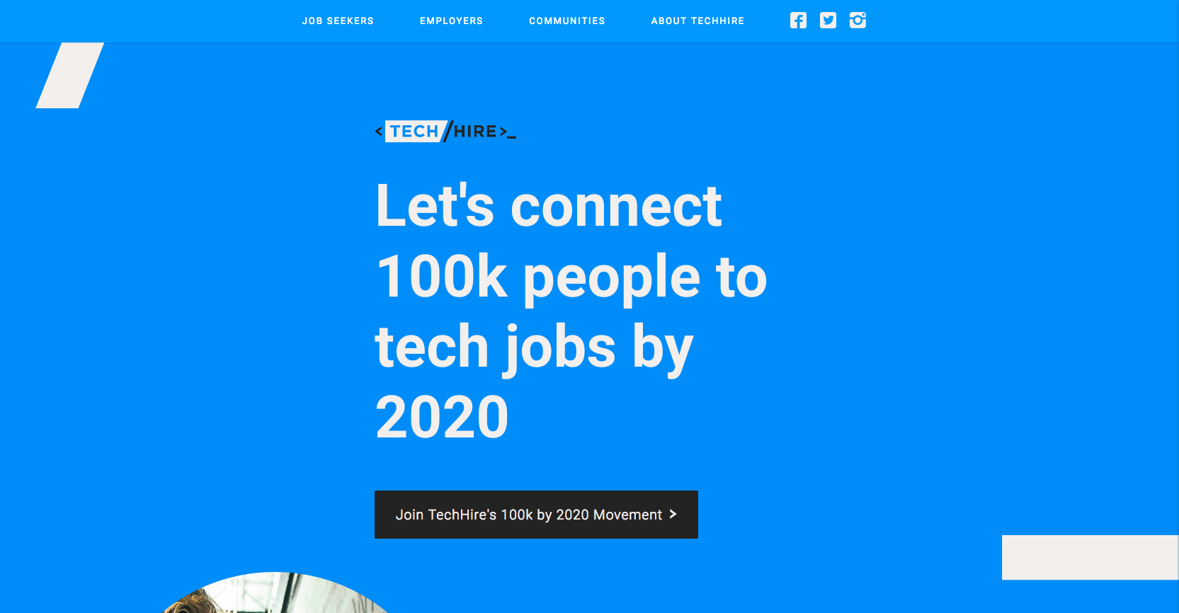 TechHire website homepage