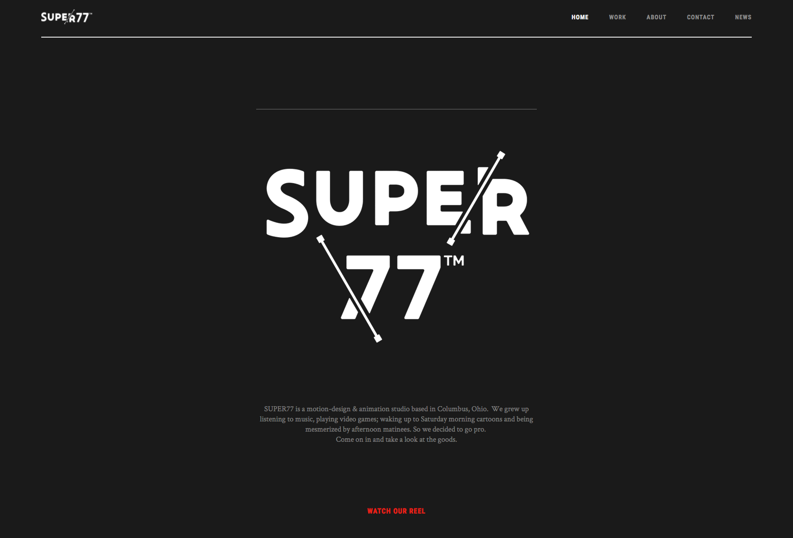 Super77 agency website homepage