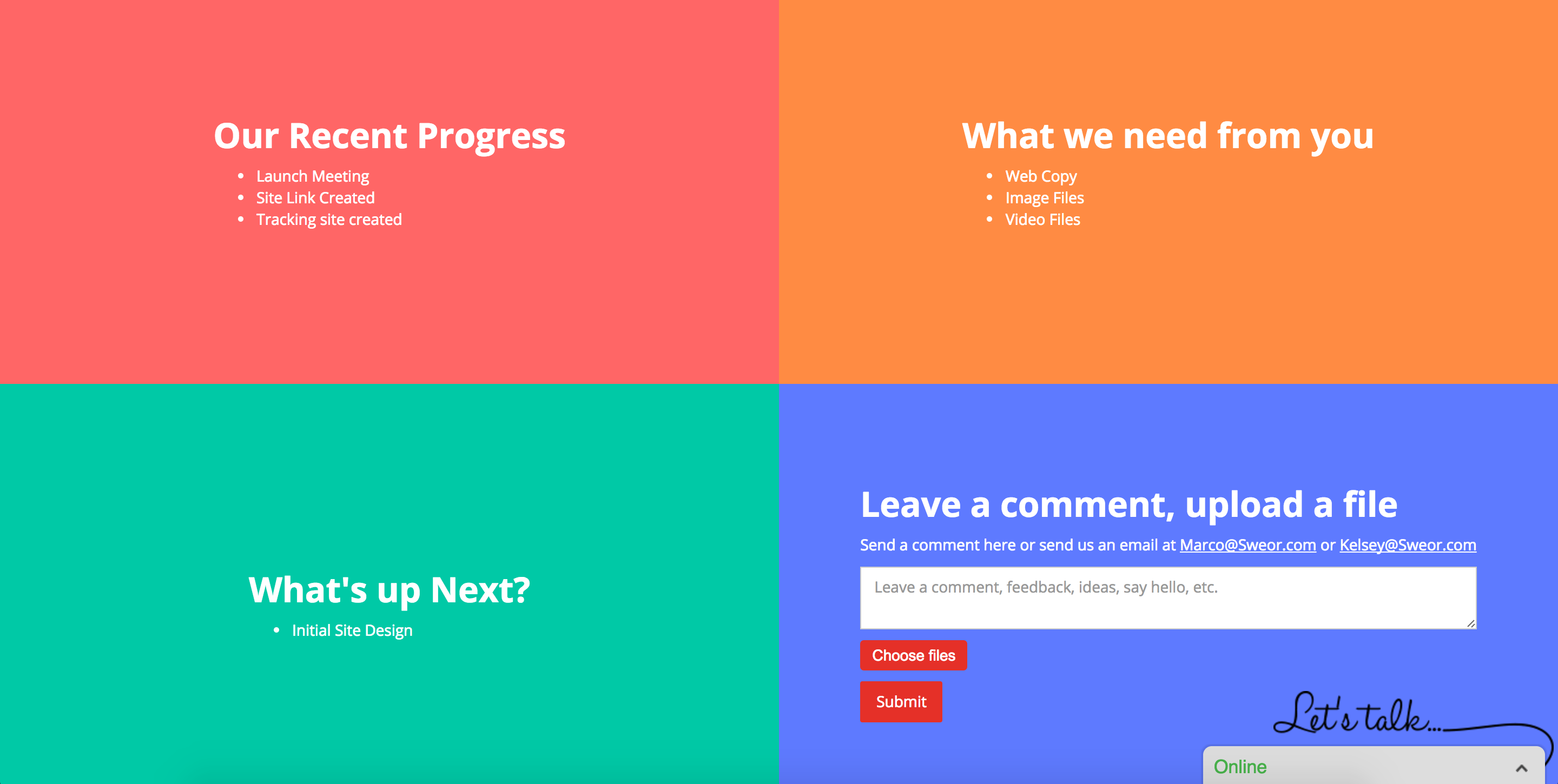 SWEOR's project management landing page for clients