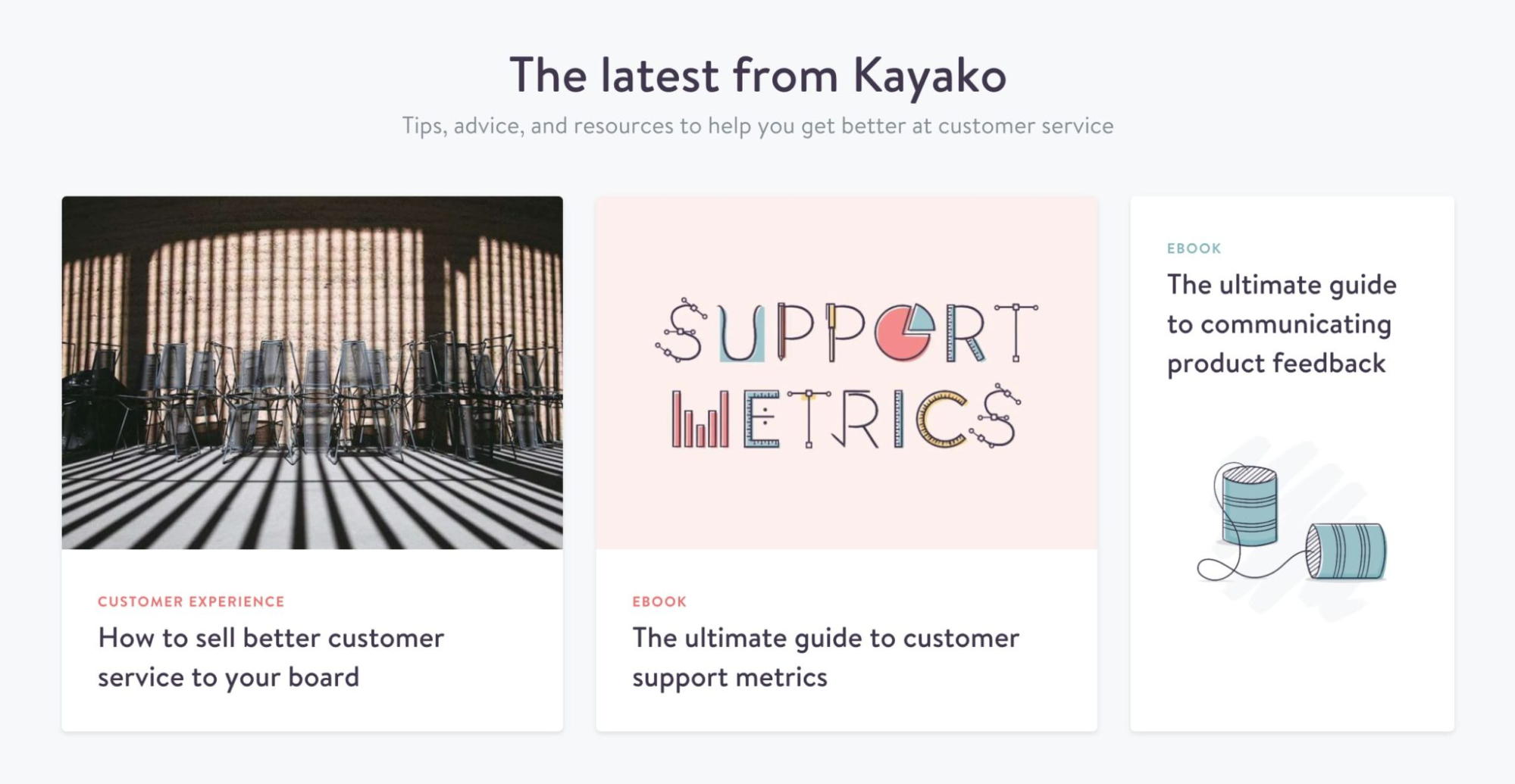 Kayako's landing page highlights recent content