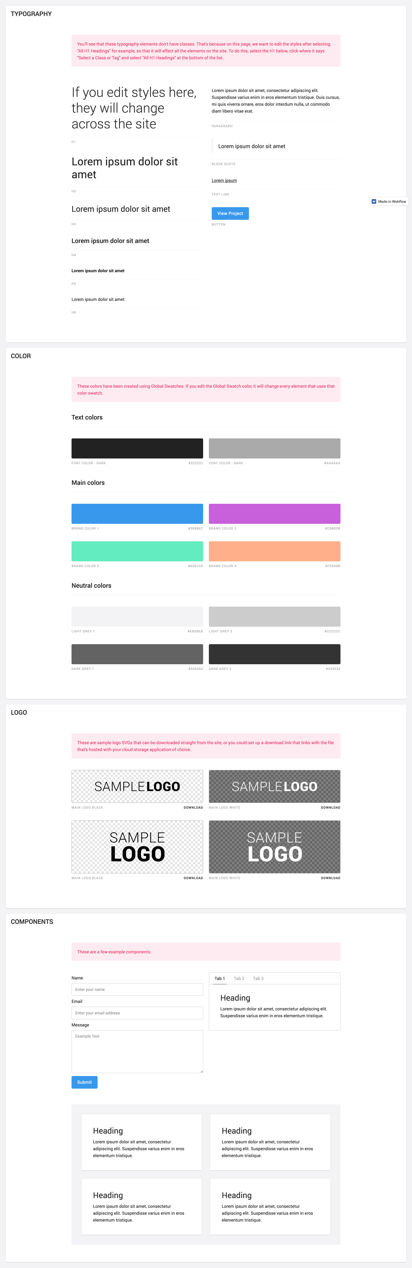 Living style guide template made in Webflow