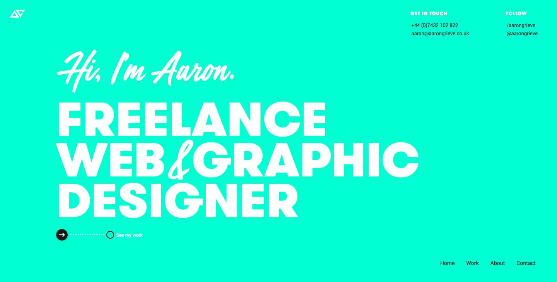 Aaron Grieve's portfolio homepage