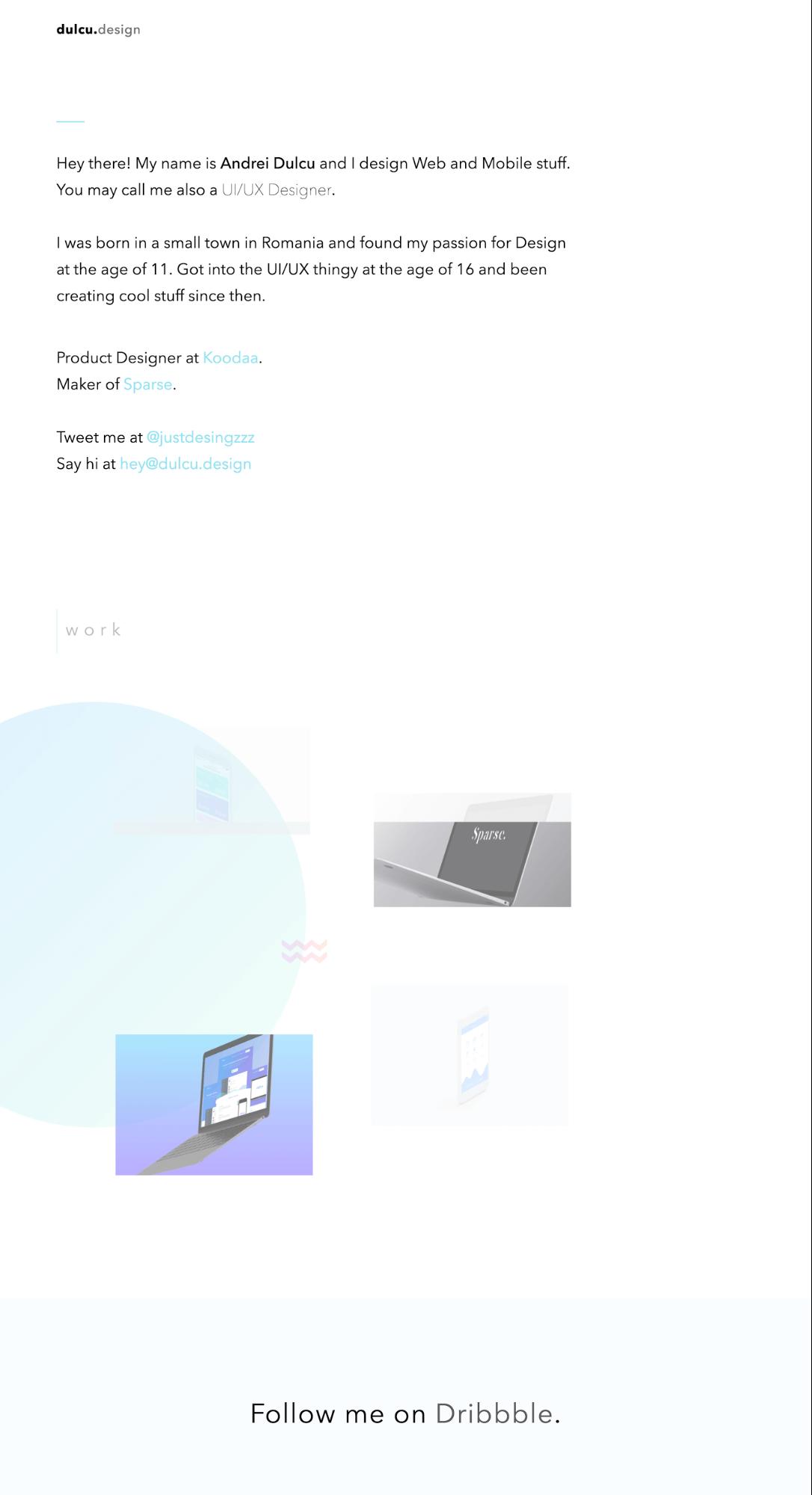Andrei Dulcu's portfolio homepage