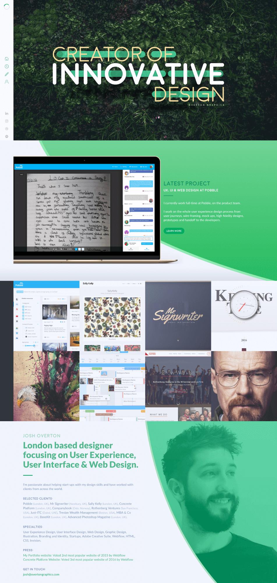 Overton Graphics portfolio homepage