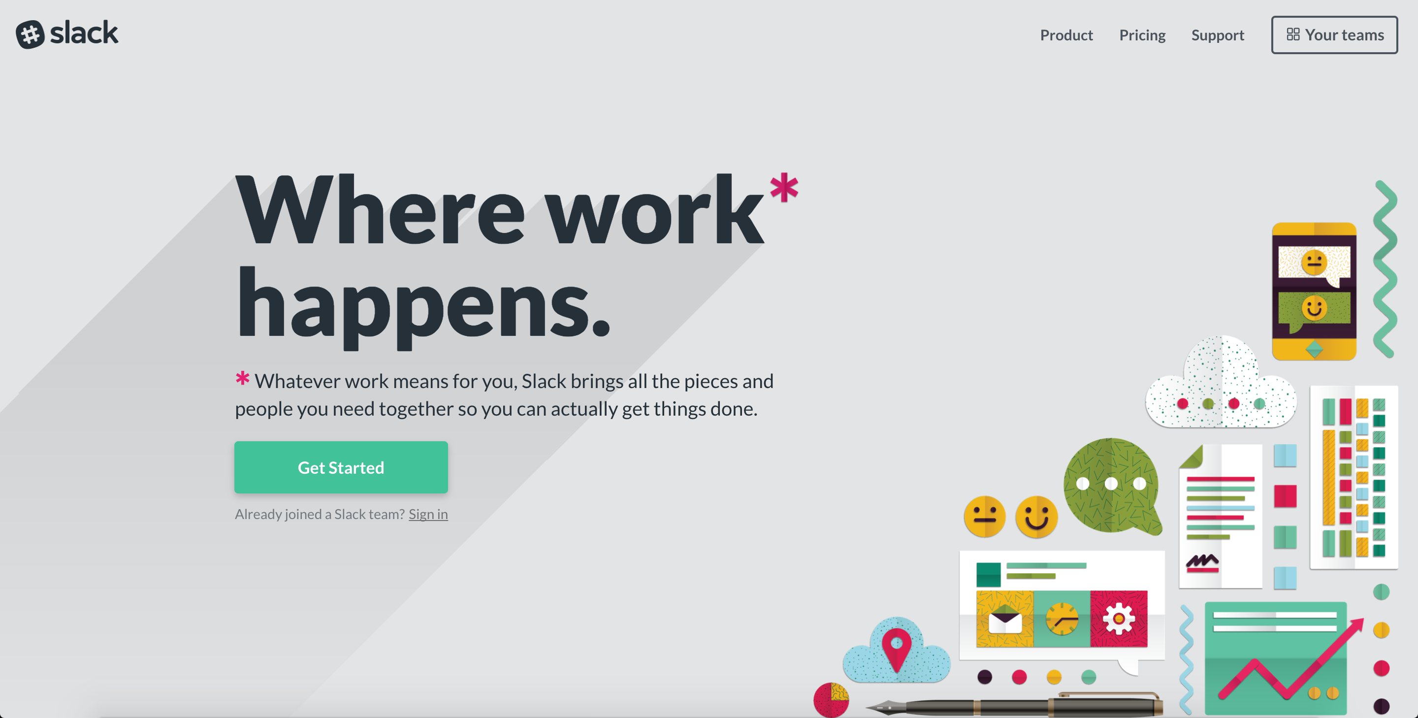 Slacku0027s Homepage Clearly Knows Its Purpose: To Get You Started With Slack.