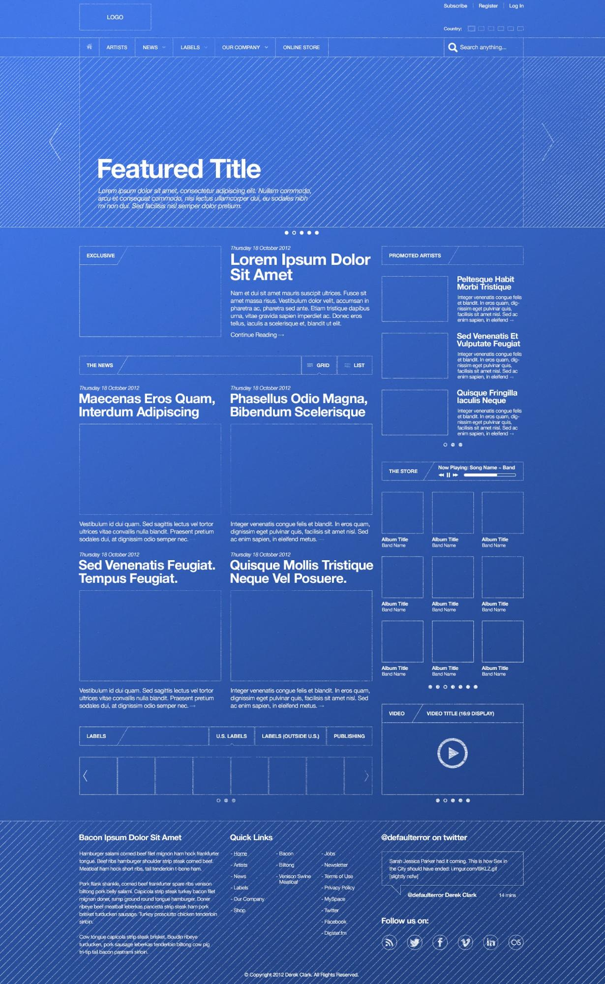 The Modern Web Design Process Creating Sitemaps And Wireframes Electrical Schematic Blueprint Reading Course Syllabus Derek Clark Created This Wireframe Which Shows Only Basic Elements Of A Page Layout But Still Communicates So Much How Final Will Look