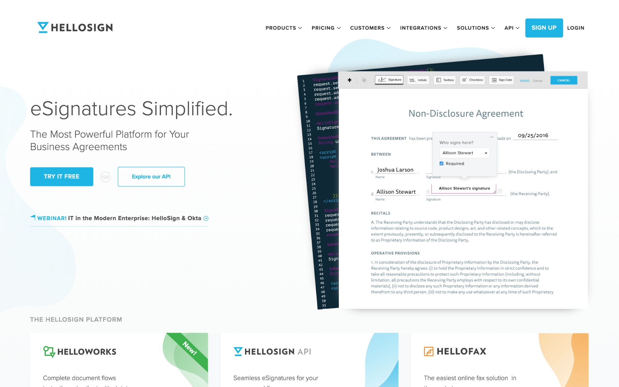 HelloSign's homepage