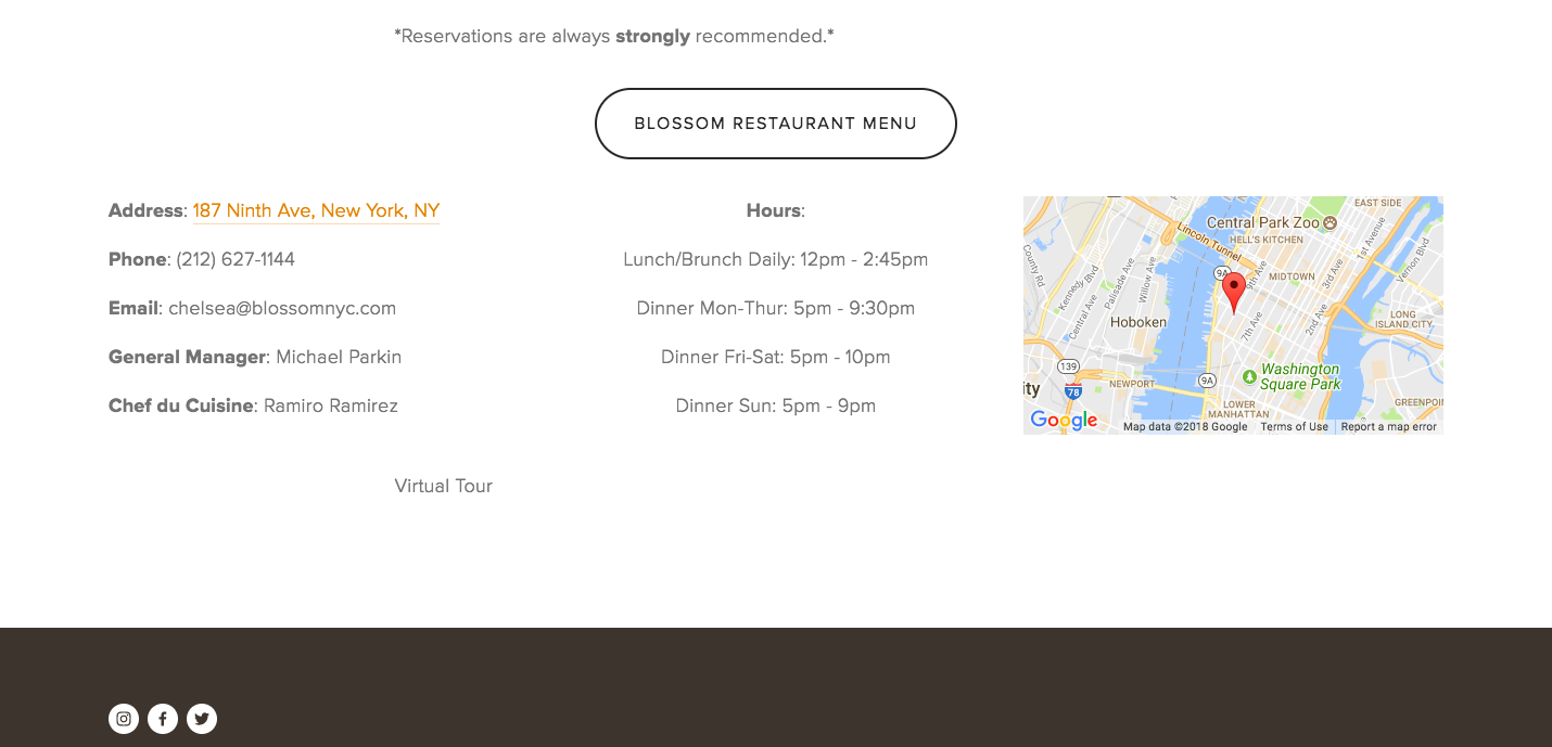 Blossom Restaurant's contact page listing their information and hours beside a google map showing their location.